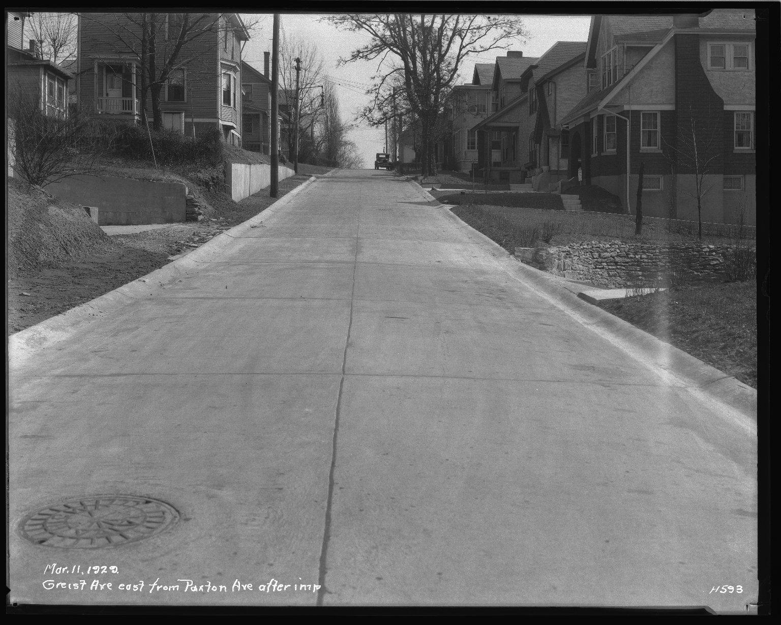 Street Improvement Photographs -- Box 36, Folder 33 (Griest Avenue) -- negative, 1929-03-11