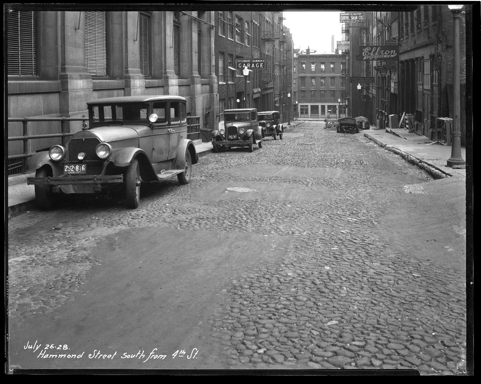 Street Improvement Photographs -- Box 36, Folder 39 (Hammond Street) -- negative, 1928-07-26