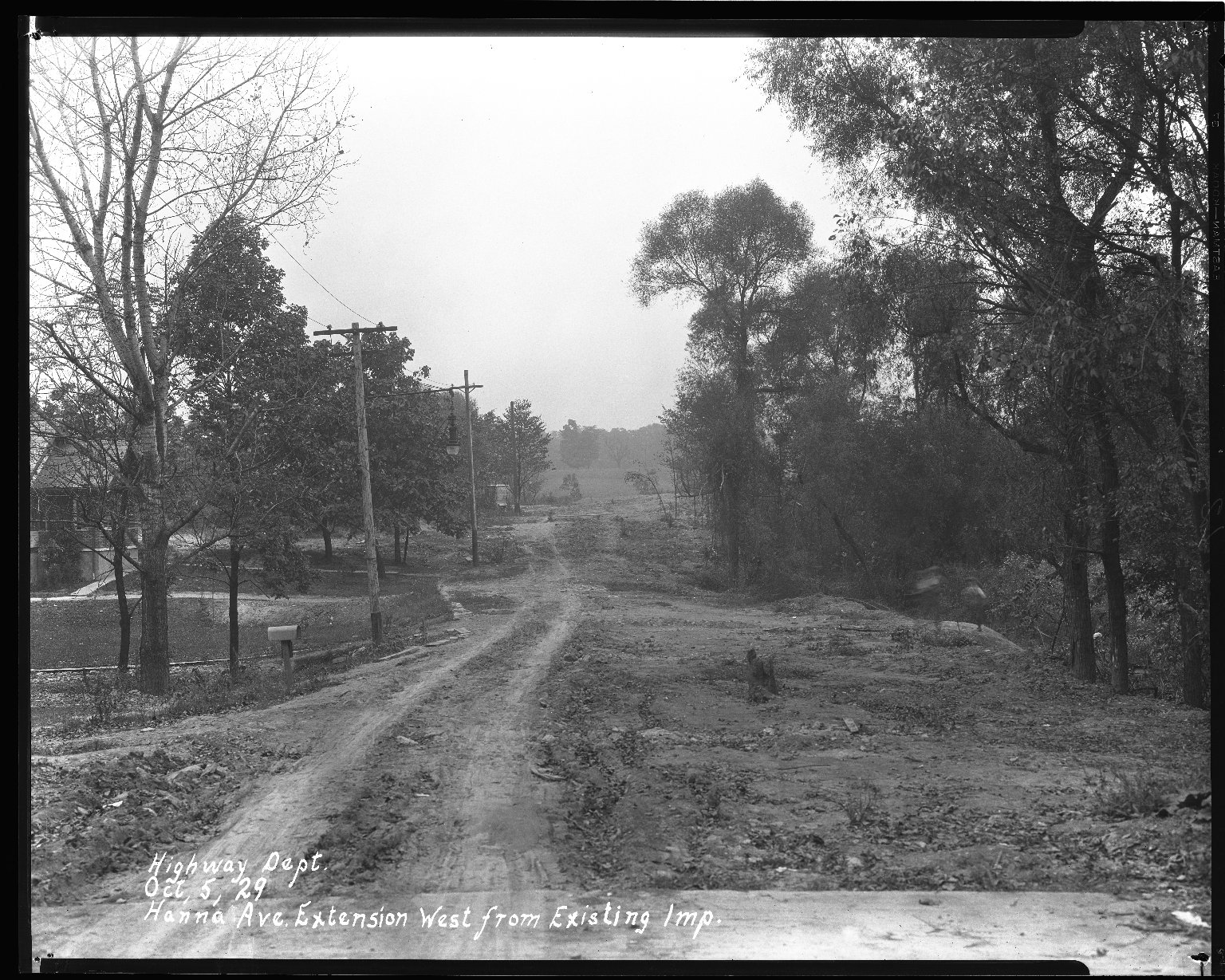 Street Improvement Photographs -- Box 36, Folder 40 (Hanna Avenue) -- negative, 1929-10-05