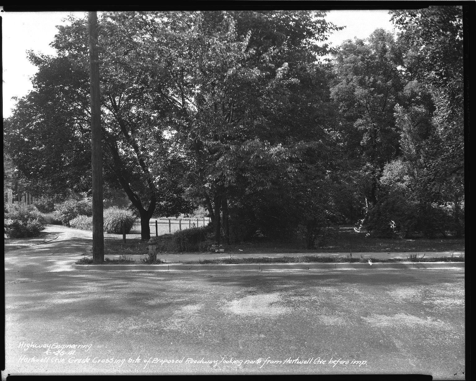 Street Improvement Photographs -- Box 36, Folder 56 (Hartwell Avenue) -- negative, 1941-06-25