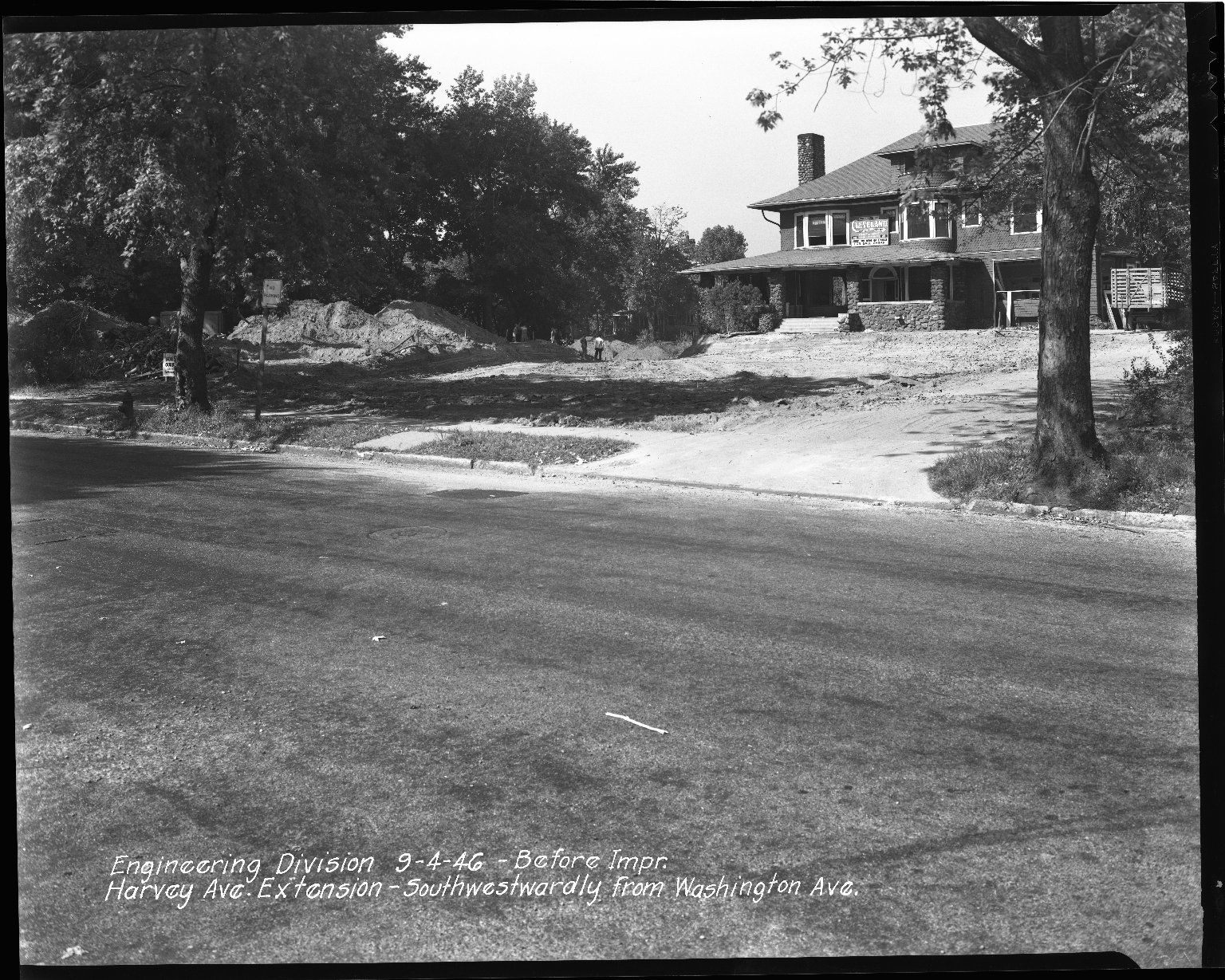 Street Improvement Photographs -- Box 36, Folder 61 (Harvey Avenue Extension) -- negative, 1946-09-04