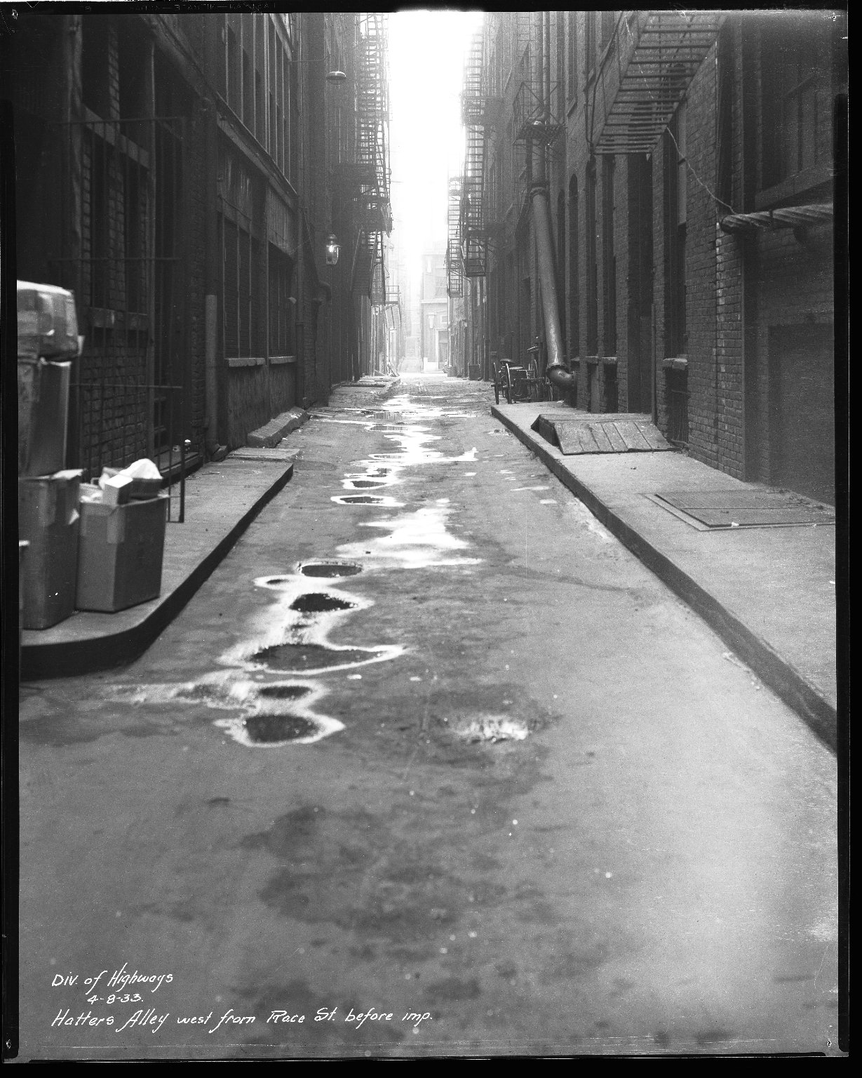 Street Improvement Photographs -- Box 36, Folder 64 (Hatter's Alley) -- negative, 1933-04-08