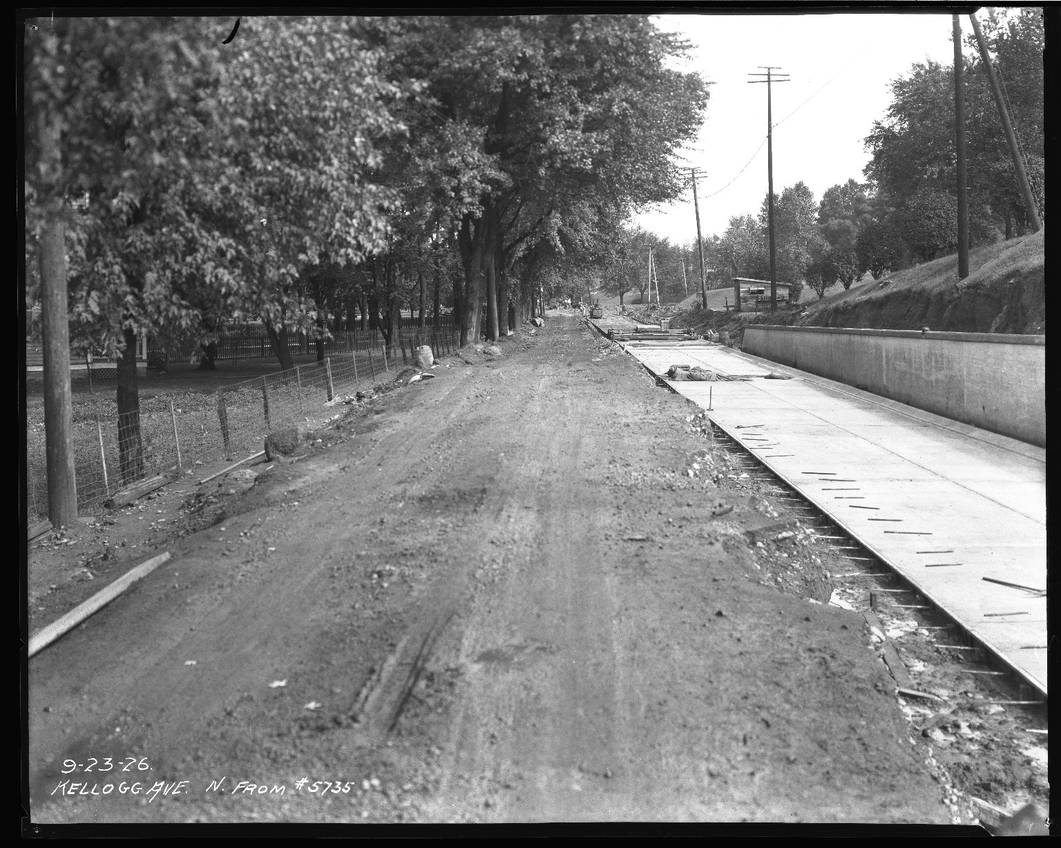 Street Improvement Photographs -- Box 37, Folder 48 (Kellogg Avenue) -- negative, 1926-09-23