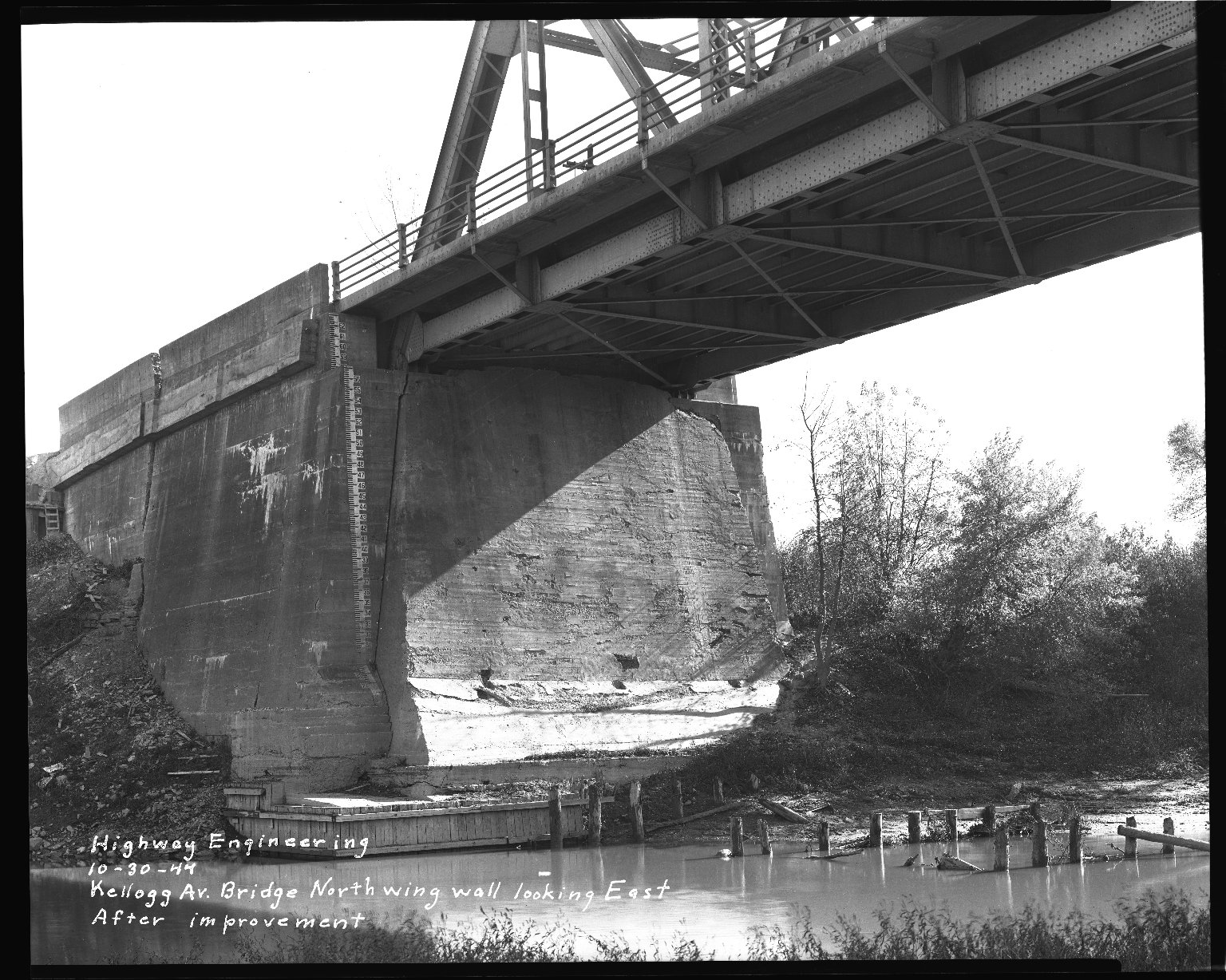 Street Improvement Photographs -- Box 37, Folder 55 (Kellogg Avenue Bridge) -- negative, 1944-10-30