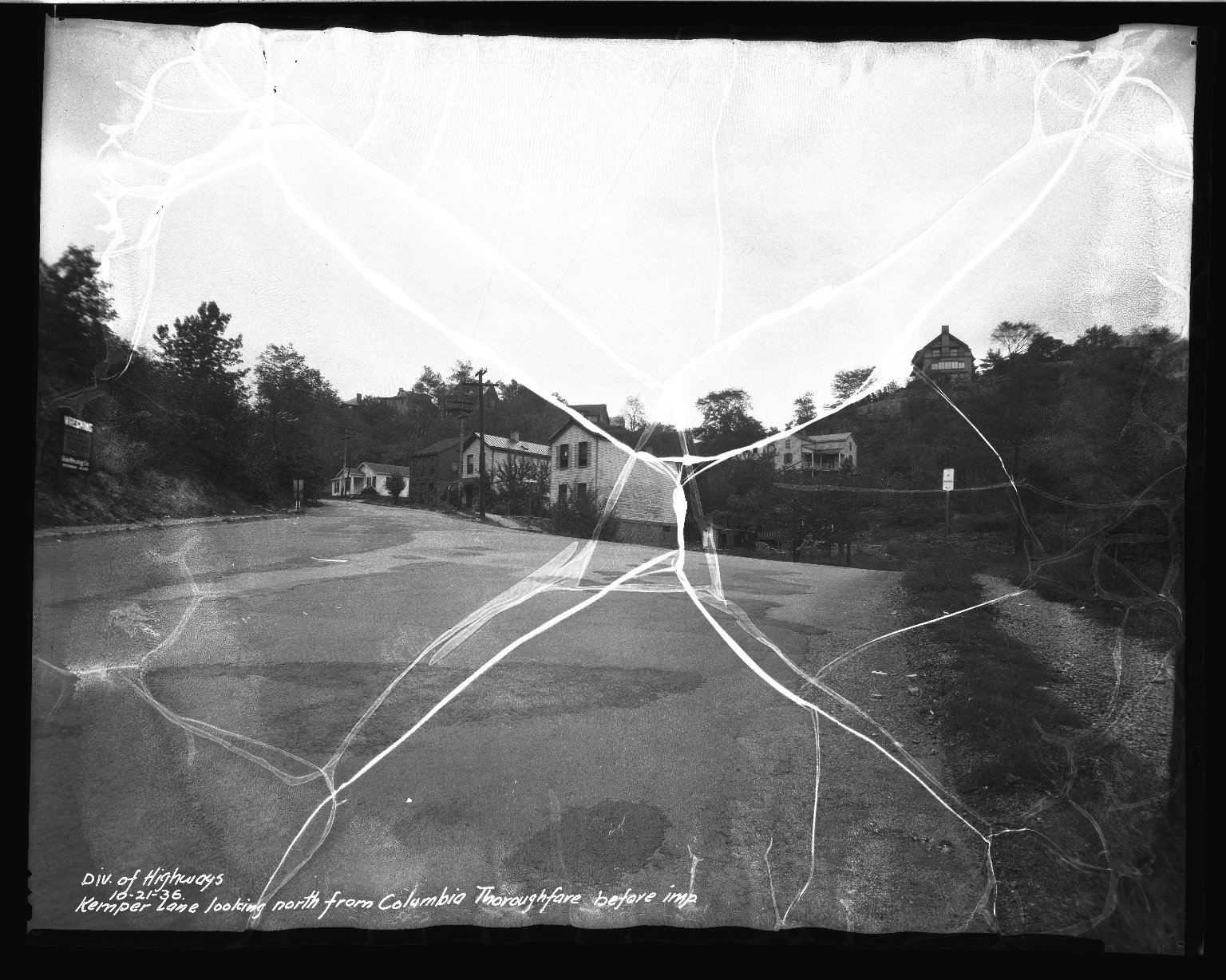 Street Improvement Photographs -- Box 37, Folder 60 (Kemper Lane) -- negative, 1936-10-21