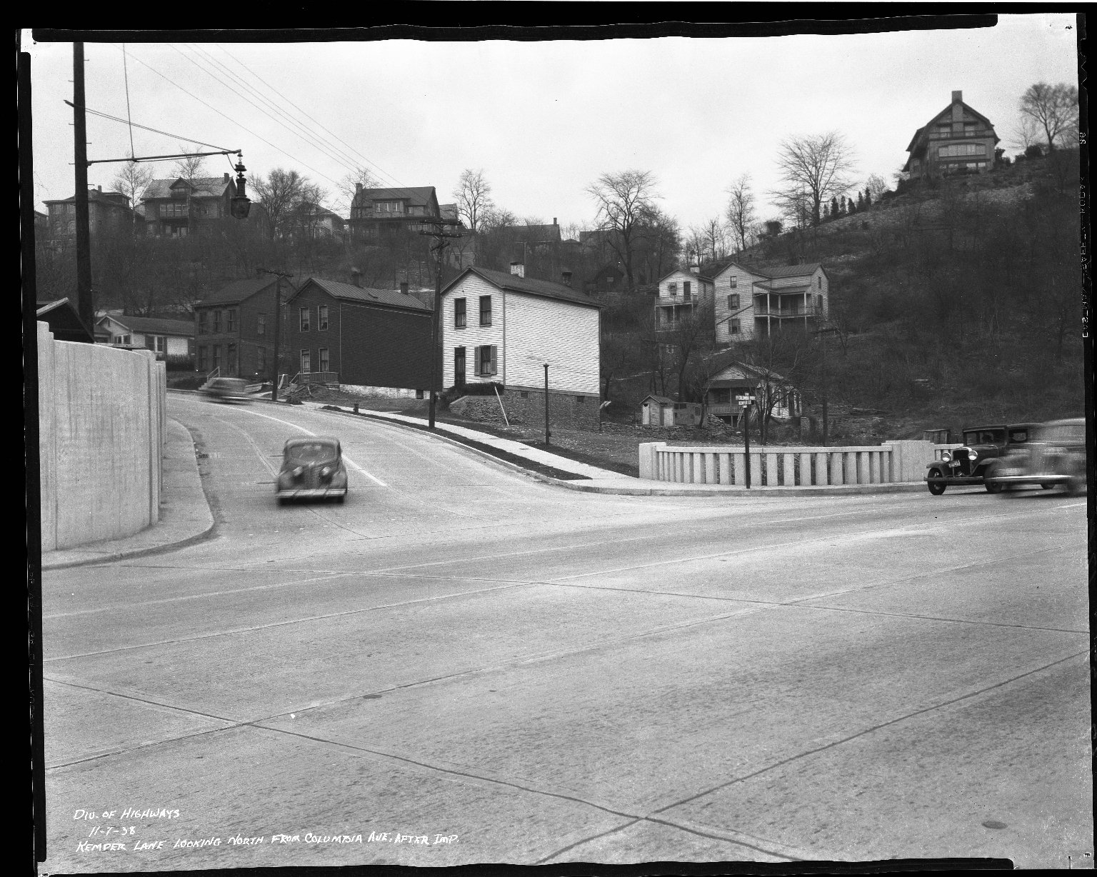 Street Improvement Photographs -- Box 37, Folder 60 (Kemper Lane) -- negative, 1938-11-07