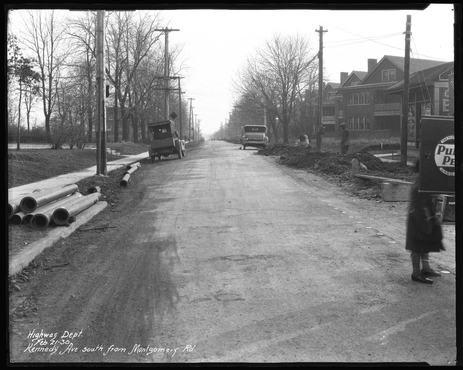 Street Improvement Photographs -- Box 38, Folder 02 (Kennedy Avenue) -- negative, 1930-02-21