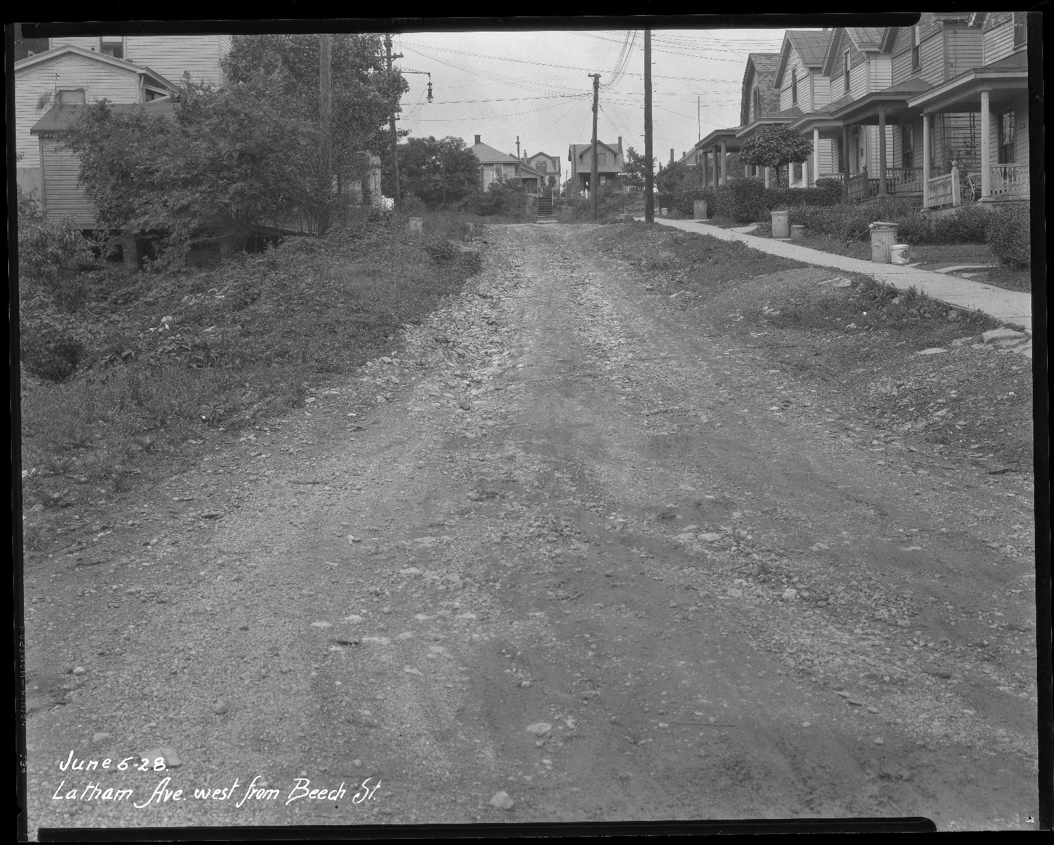 Street Improvement Photographs -- Box 38, Folder 40 (Latham Avenue) -- negative, 1928-06-06