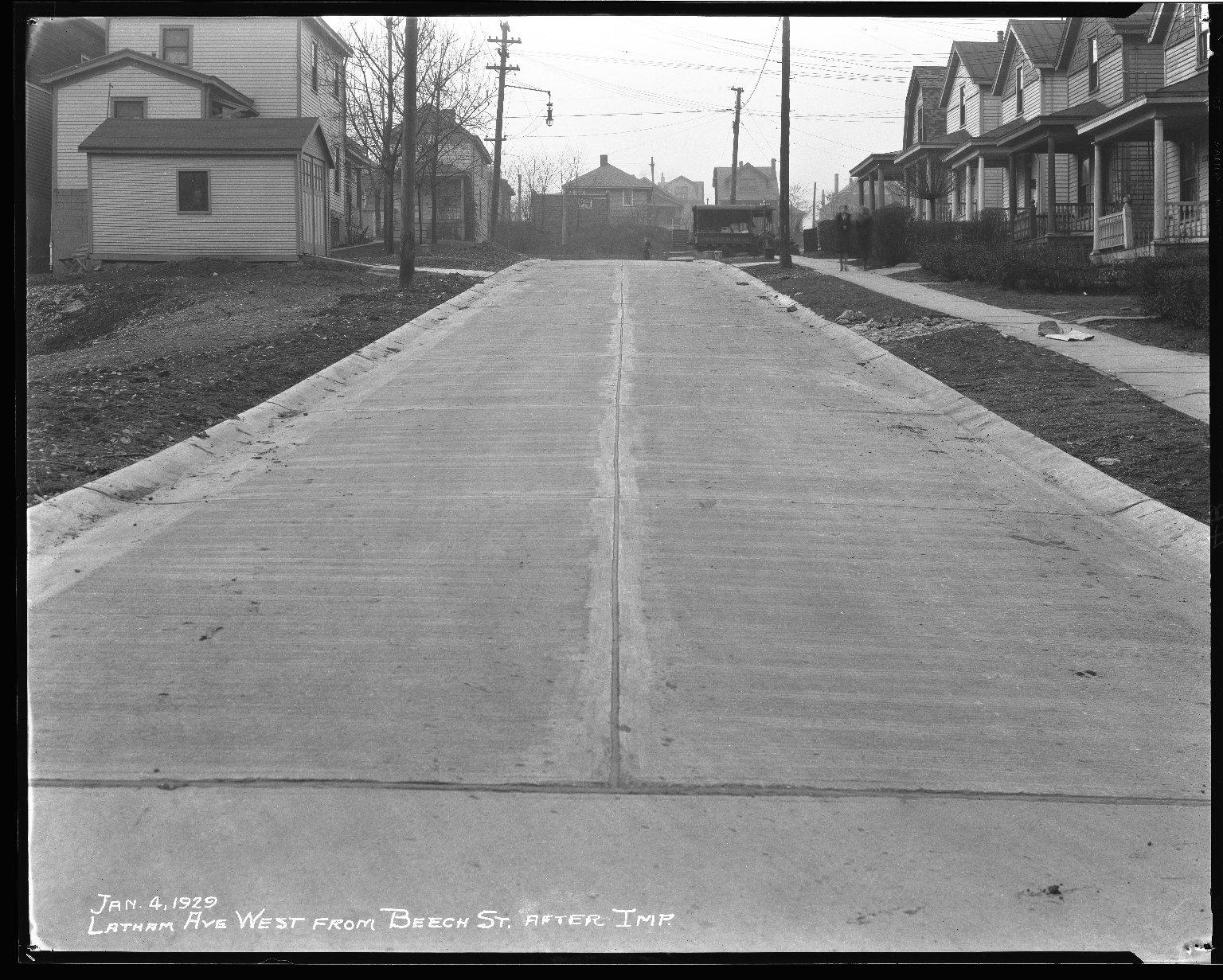Street Improvement Photographs -- Box 38, Folder 40 (Latham Avenue) -- negative, 1929-01-04