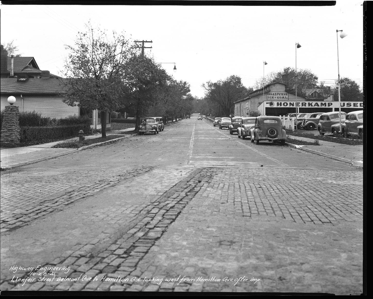 Street Improvement Photographs -- Box 39, Folder 23 (Llanfair Street) -- negative, 1941-10-28