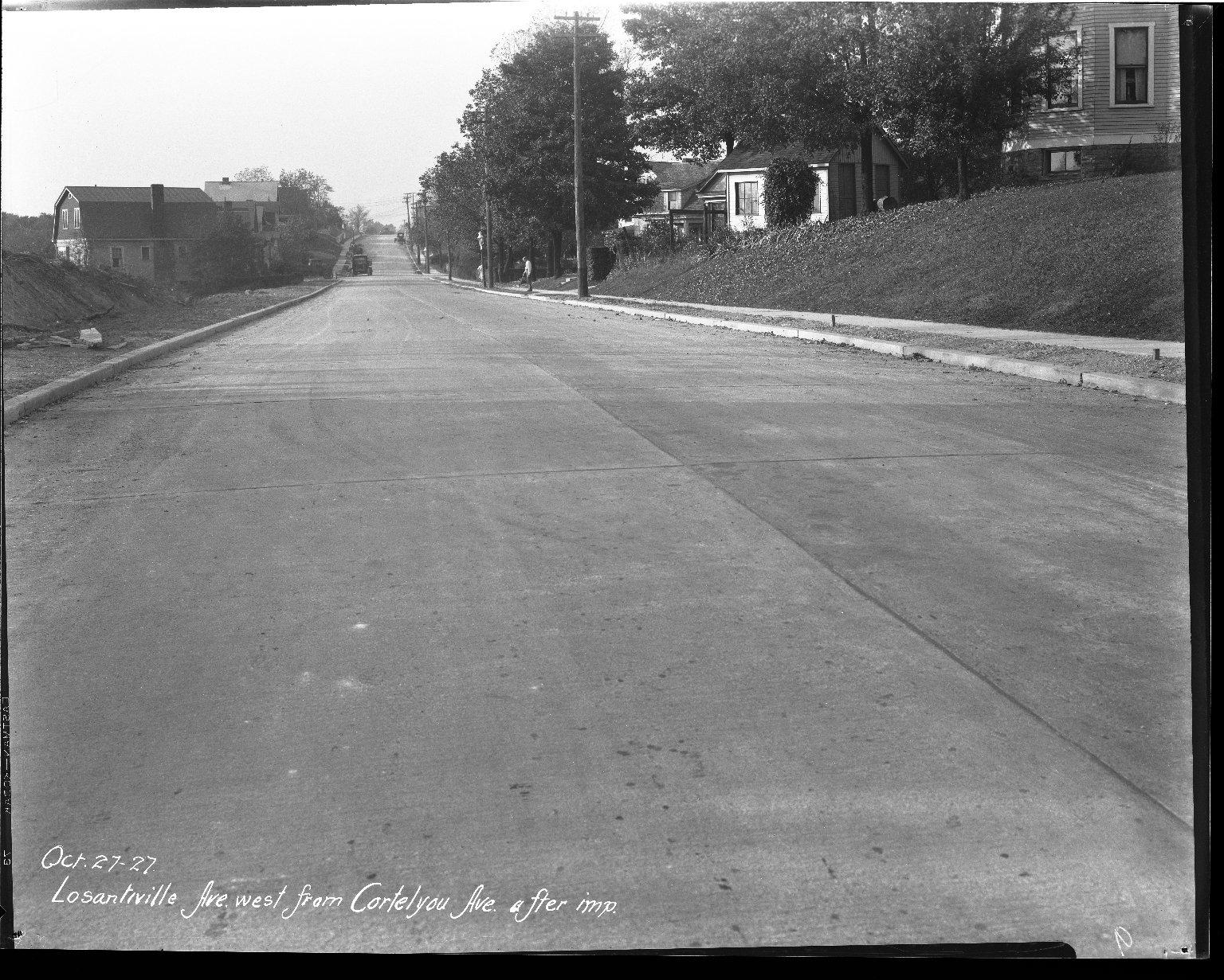 Street Improvement Photographs -- Box 39, Folder 28 (Losantiville Avenue) -- negative, 1927-10-27