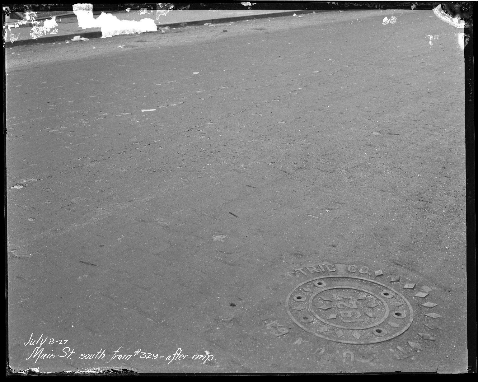 Street Improvement Photographs -- Box 40, Folder 15 (Main Street) -- negative, 1927-07-08