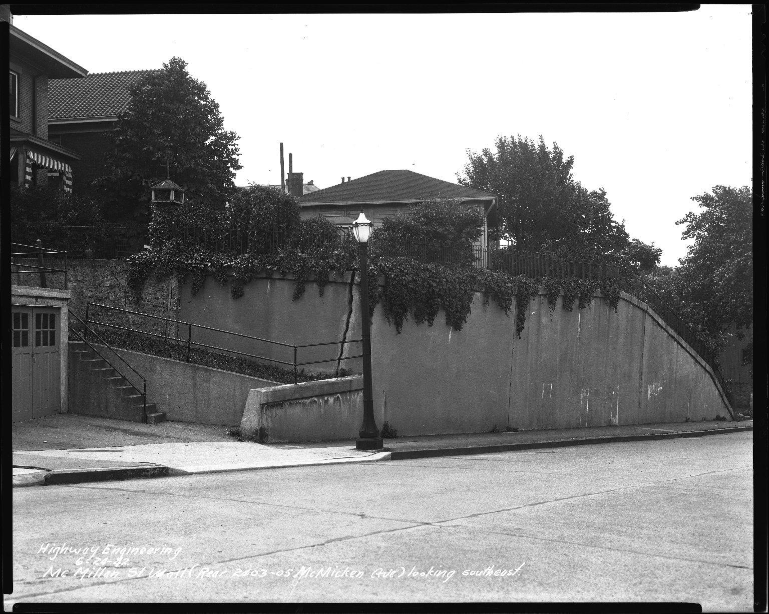 Street Improvement Photographs -- Box 40, Folder 49 (McMillan Street) -- negative, 1942-06-24