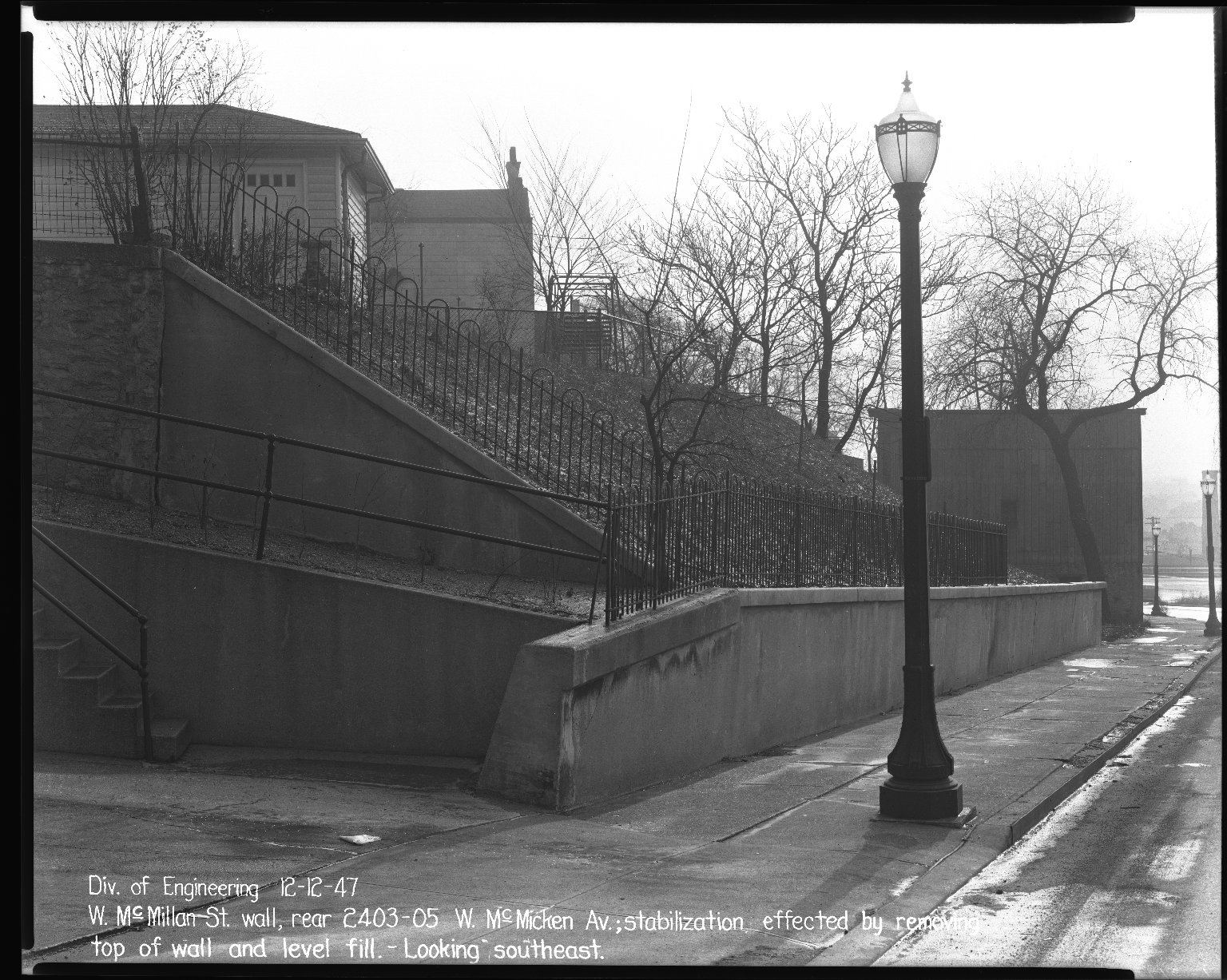 Street Improvement Photographs -- Box 40, Folder 50 (McMillan Street) -- negative, 1947-12-12