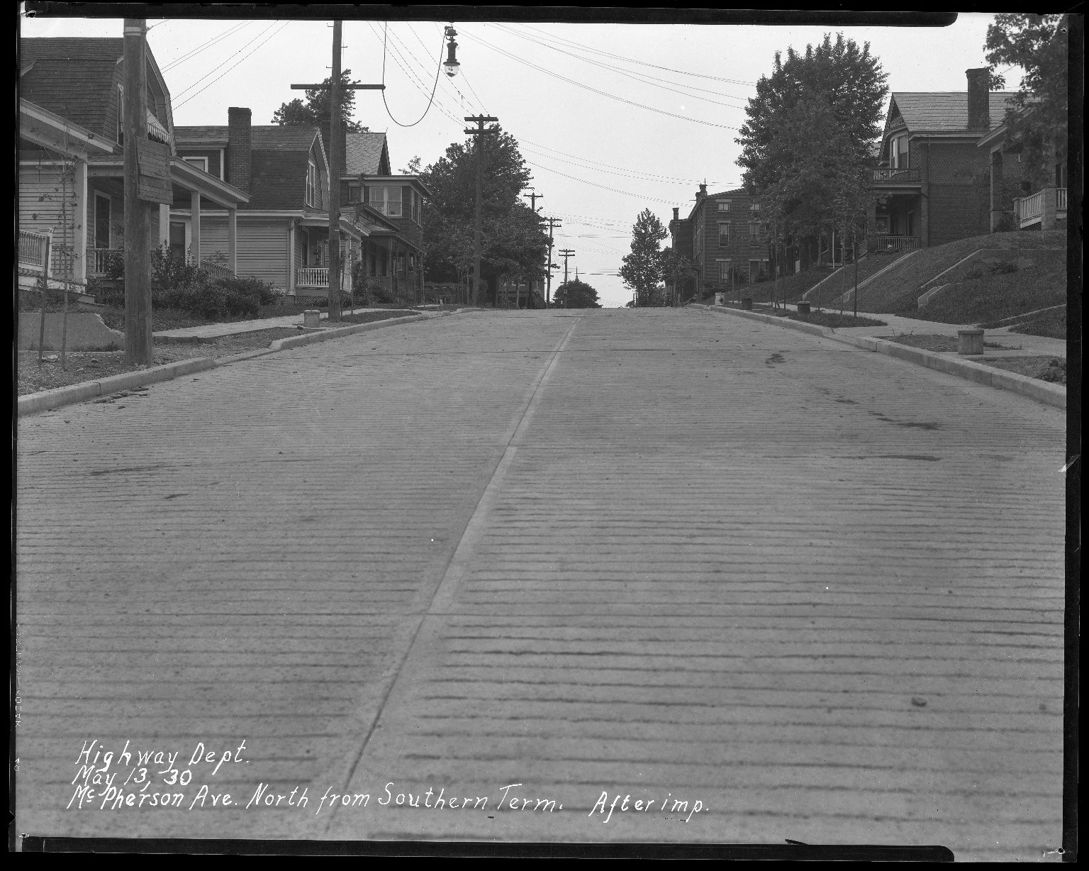 Street Improvement Photographs -- Box 41, Folder 11 (McPherson Avenue) -- negative, 1930-05-13