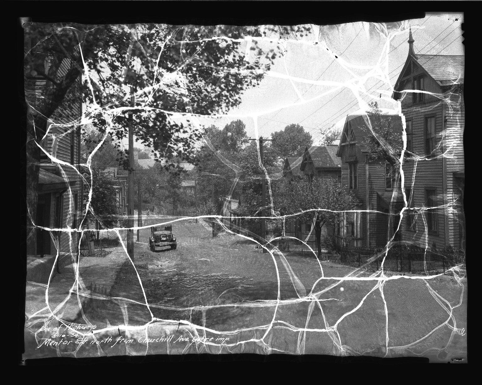 Street Improvement Photographs -- Box 41, Folder 12 (Mentor Street) -- negative, 1934-05-10