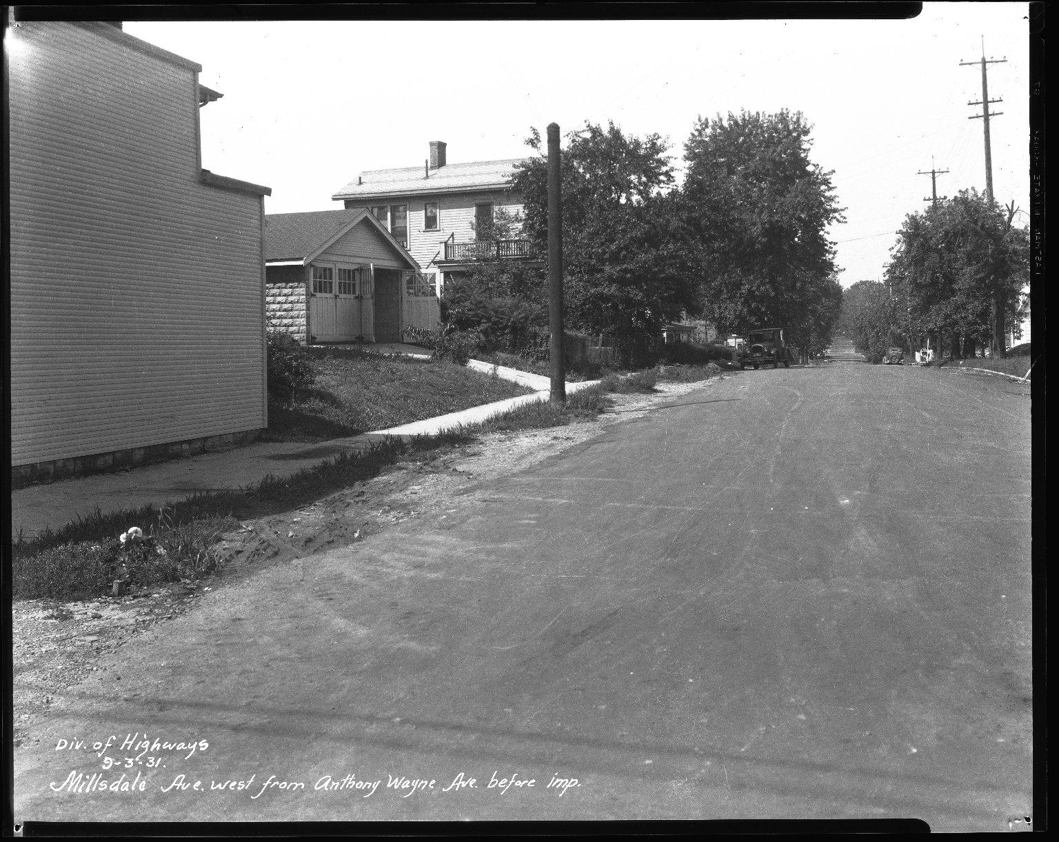 Street Improvement Photographs -- Box 41, Folder 17 (Millsdale Avenue) -- negative, 1931-09-03