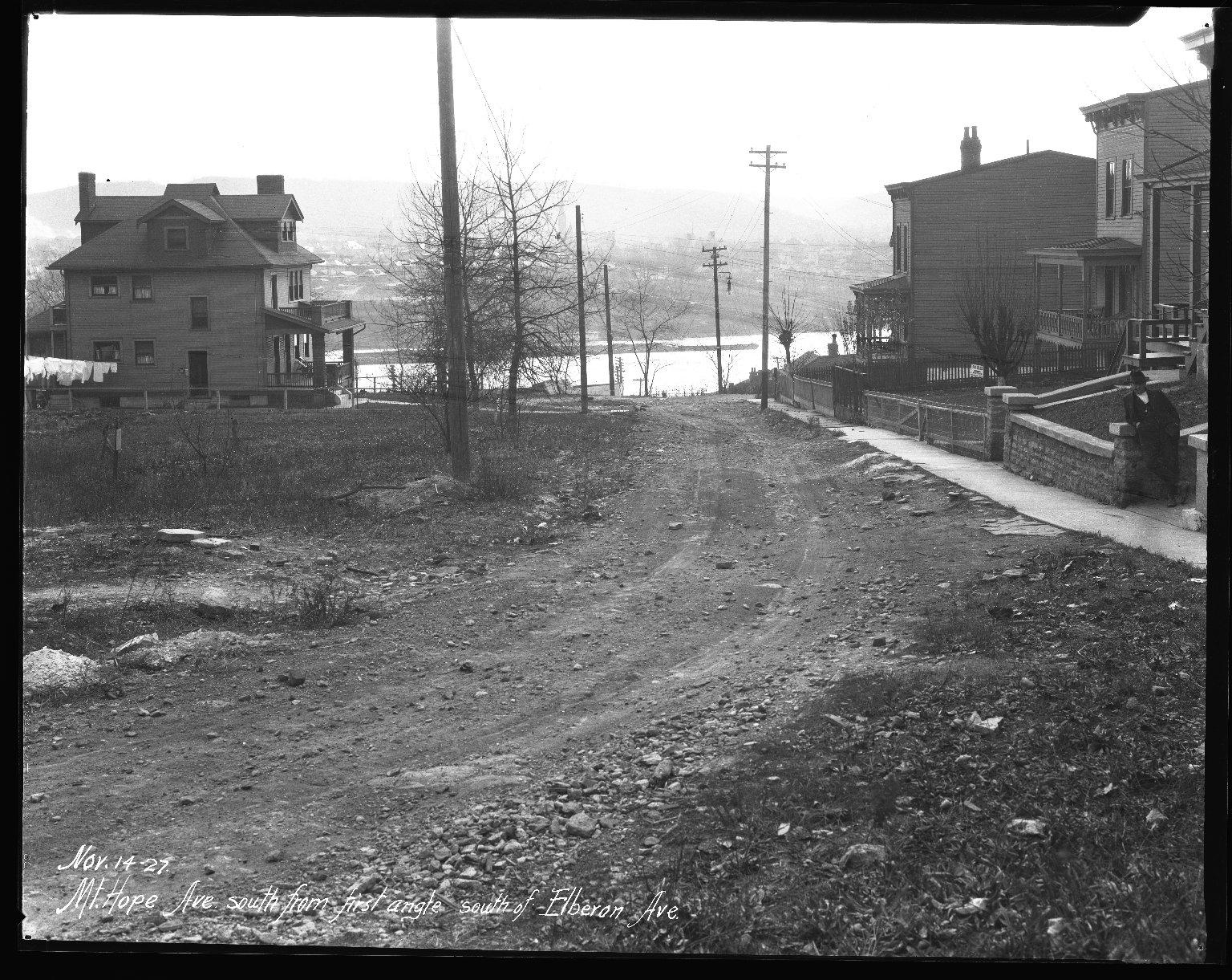 Street Improvement Photographs -- Box 42, Folder 07 (Mt. Hope Avenue) -- negative, 1927-11-14