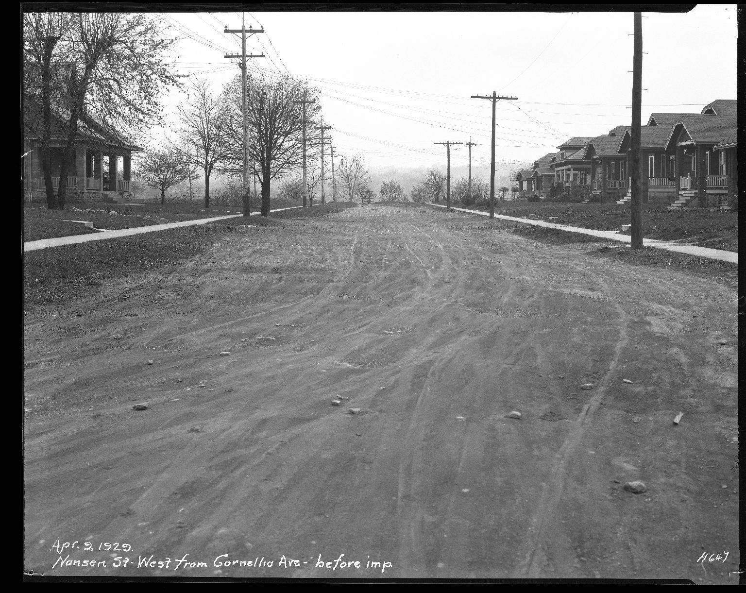 Street Improvement Photographs -- Box 42, Folder 13 (Nansen Street) -- negative, 1929-04-02