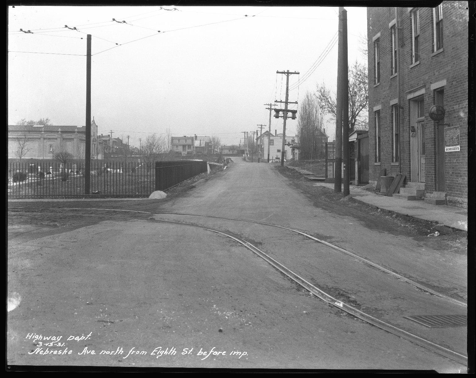 Street Improvement Photographs -- Box 42, Folder 14 (Nebraska Avenue) -- negative, 1931-03-13