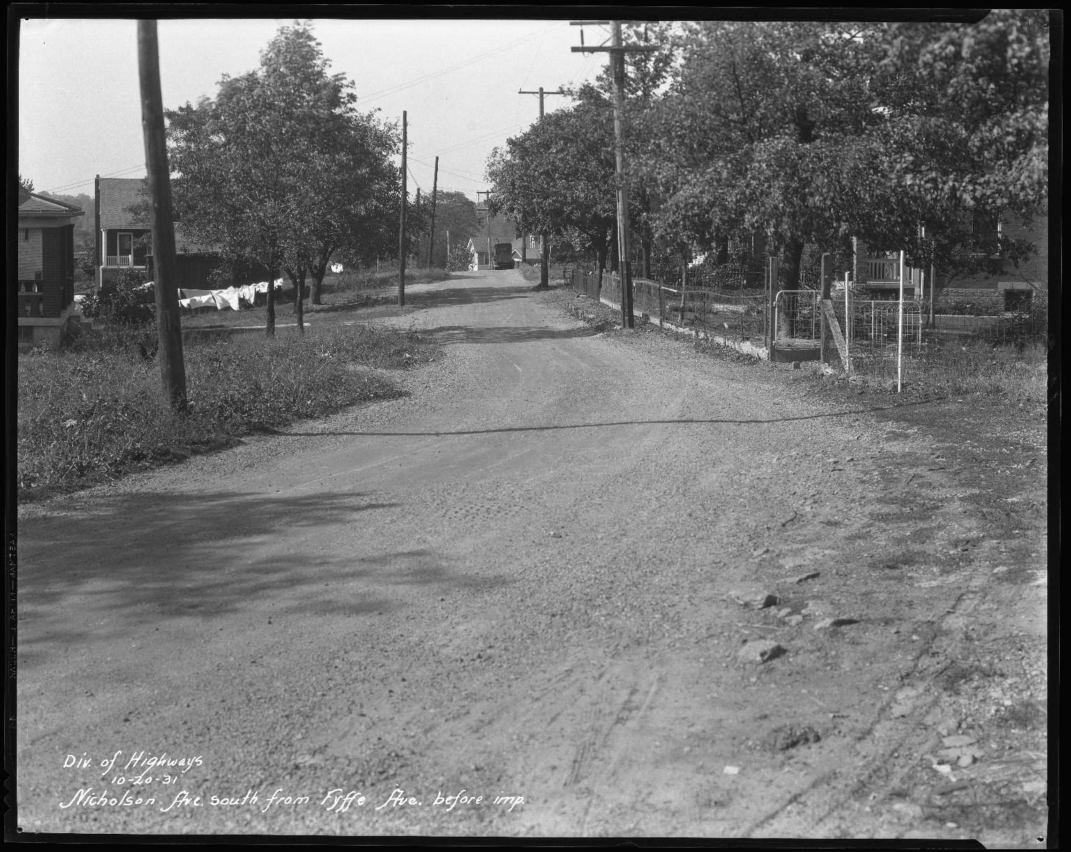 Street Improvement Photographs -- Box 42, Folder 17 (Nicholson Avenue) -- negative, 1931-10-20