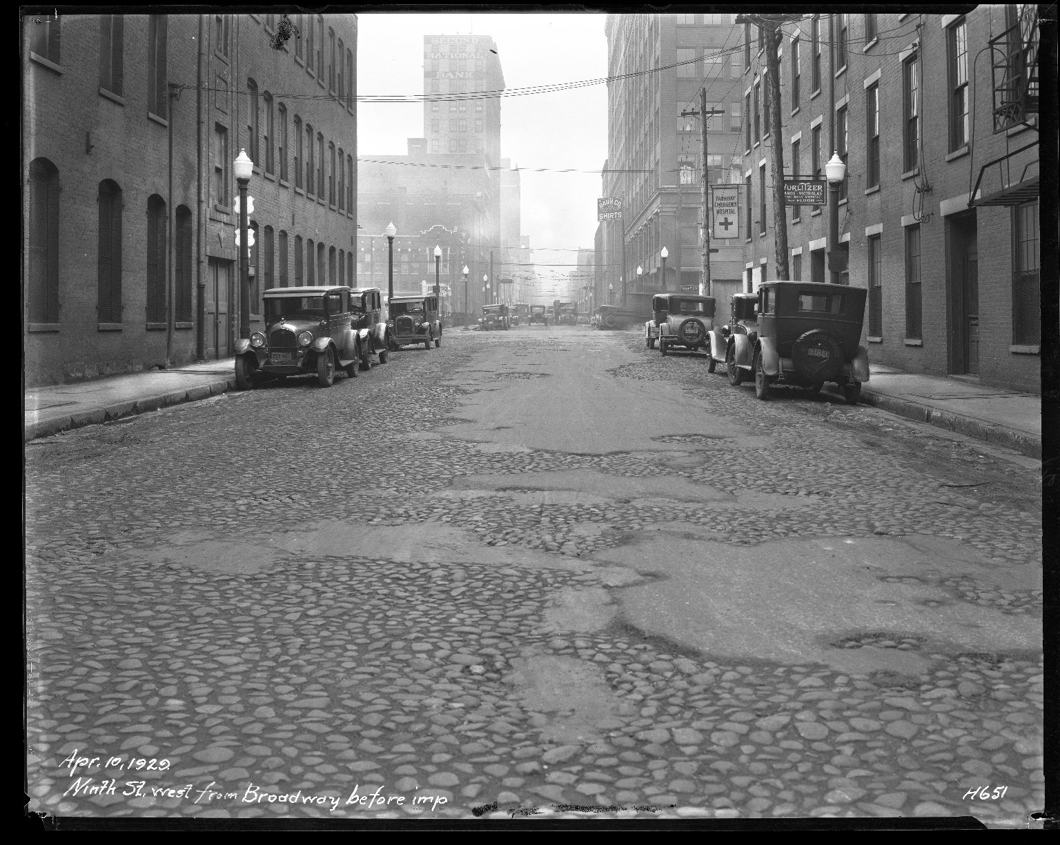 Street Improvement Photographs -- Box 42, Folder 19 (Ninth Street) -- negative, 1929-04-10