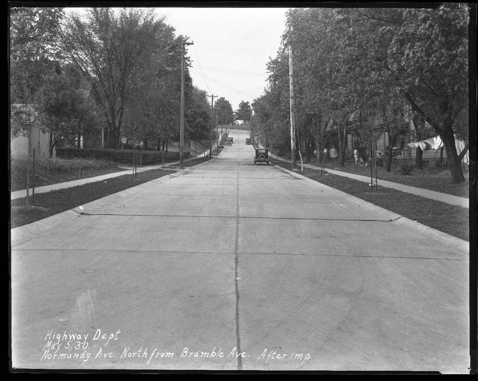 Street Improvement Photographs -- Box 42, Folder 22 (Normandy Avenue) -- negative, 1930-05-05