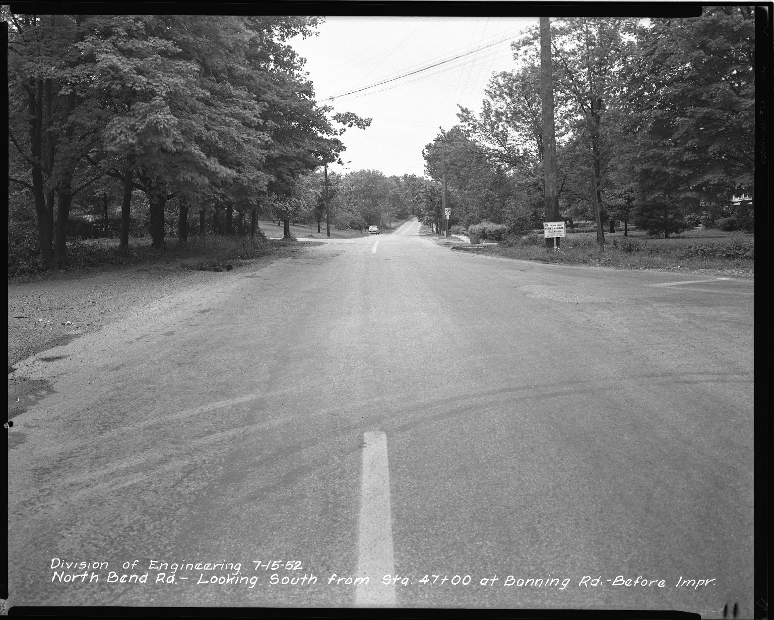 Street Improvement Photographs -- Box 42, Folder 33 (North Bend Road) -- negative, 1952-07-15