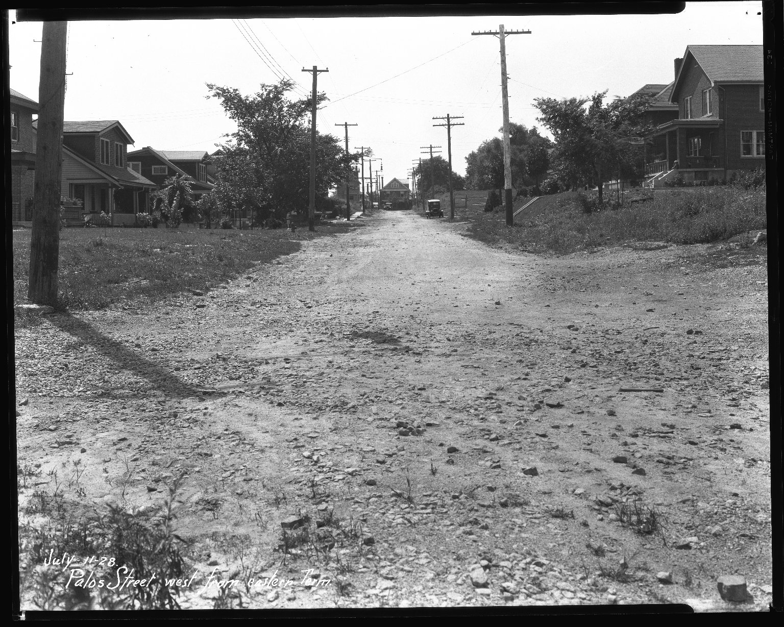 Street Improvement Photographs -- Box 42, Folder 58 (Palos Street) -- negative, 1928-07-11