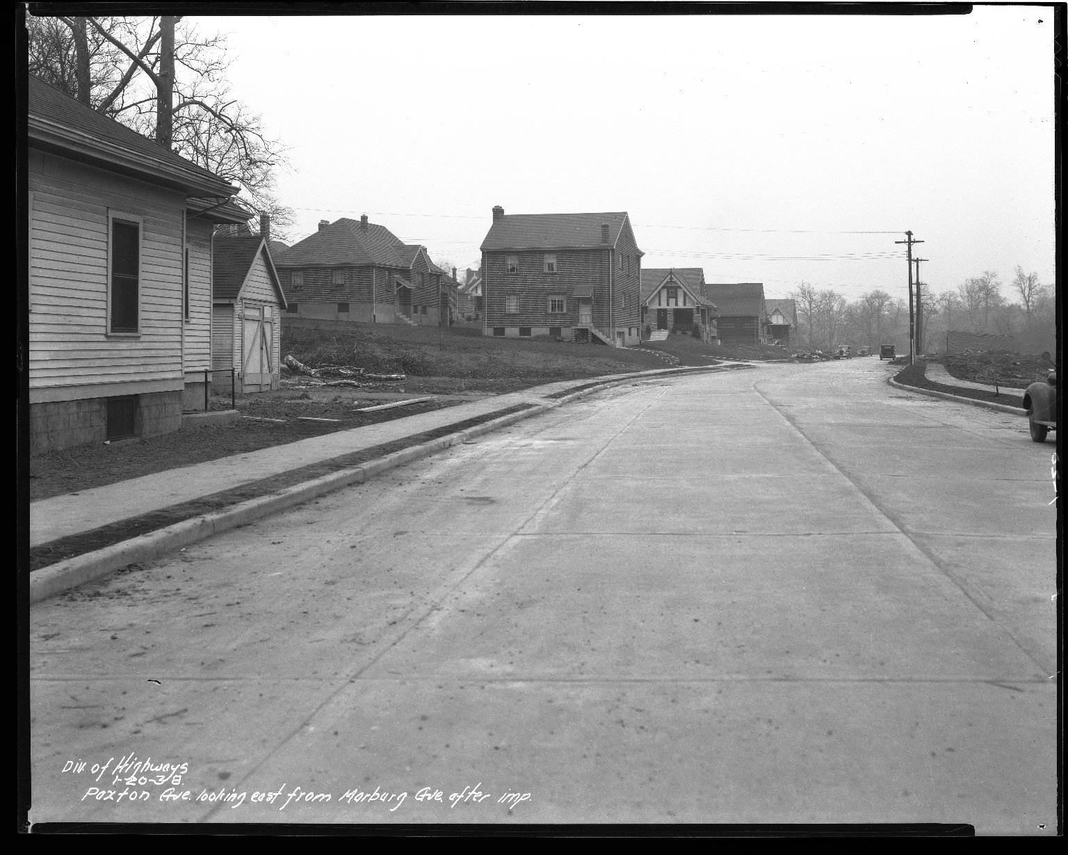 Street Improvement Photographs -- Box 43, Folder 05 (Paxton Avenue) -- negative, 1938-01-20