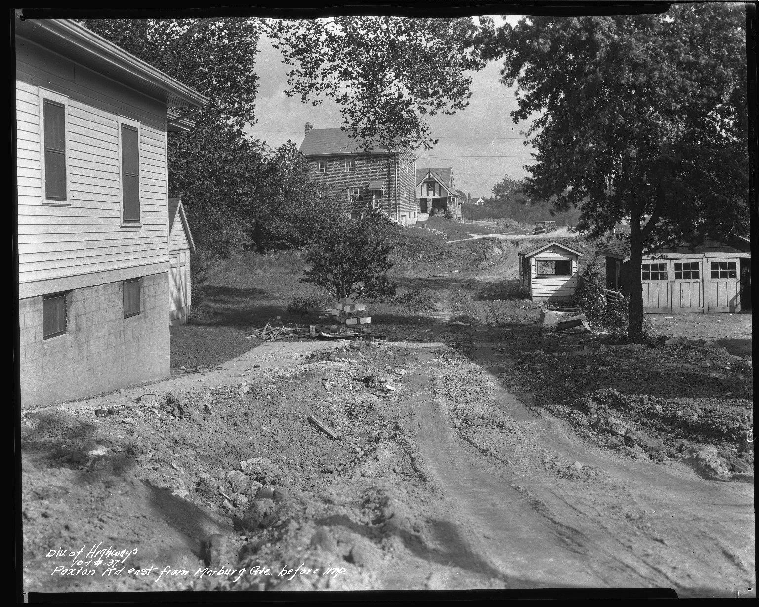Street Improvement Photographs -- Box 43, Folder 05 (Paxton Avenue) -- negative, 1937-10-14