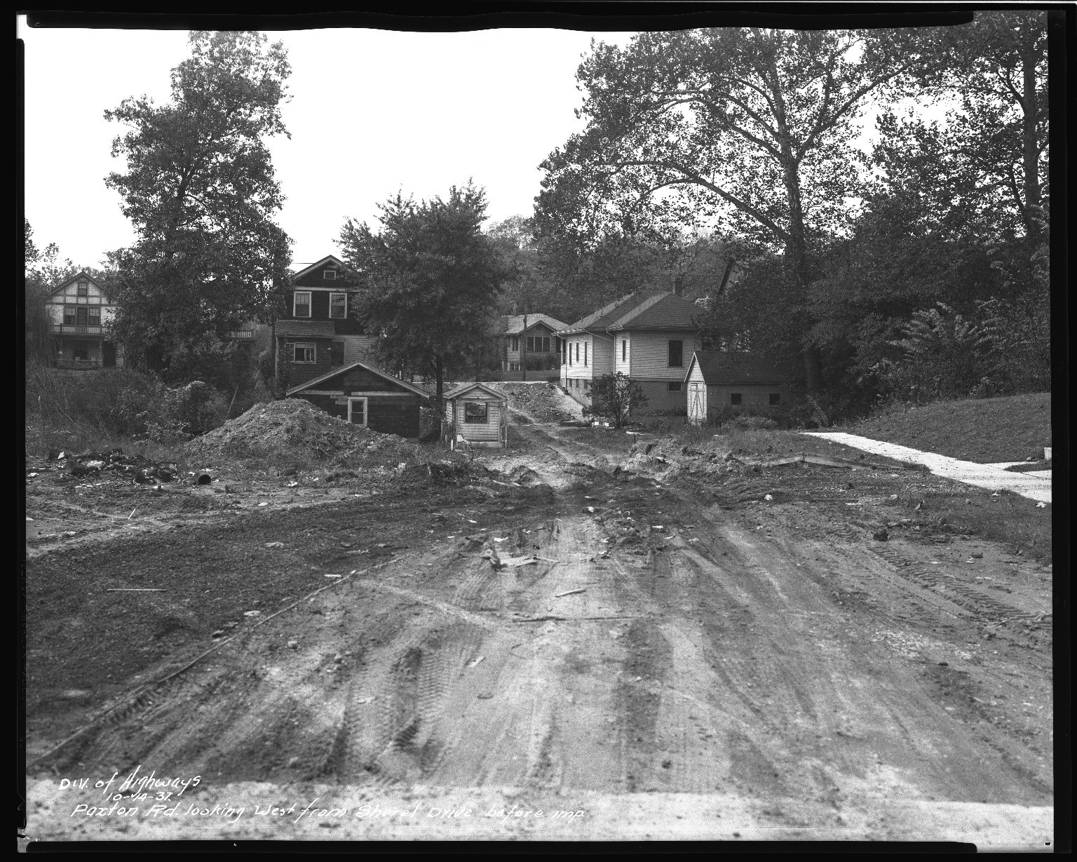 Street Improvement Photographs -- Box 43, Folder 05 (Paxton Avenue) -- negative, 1937-10-14