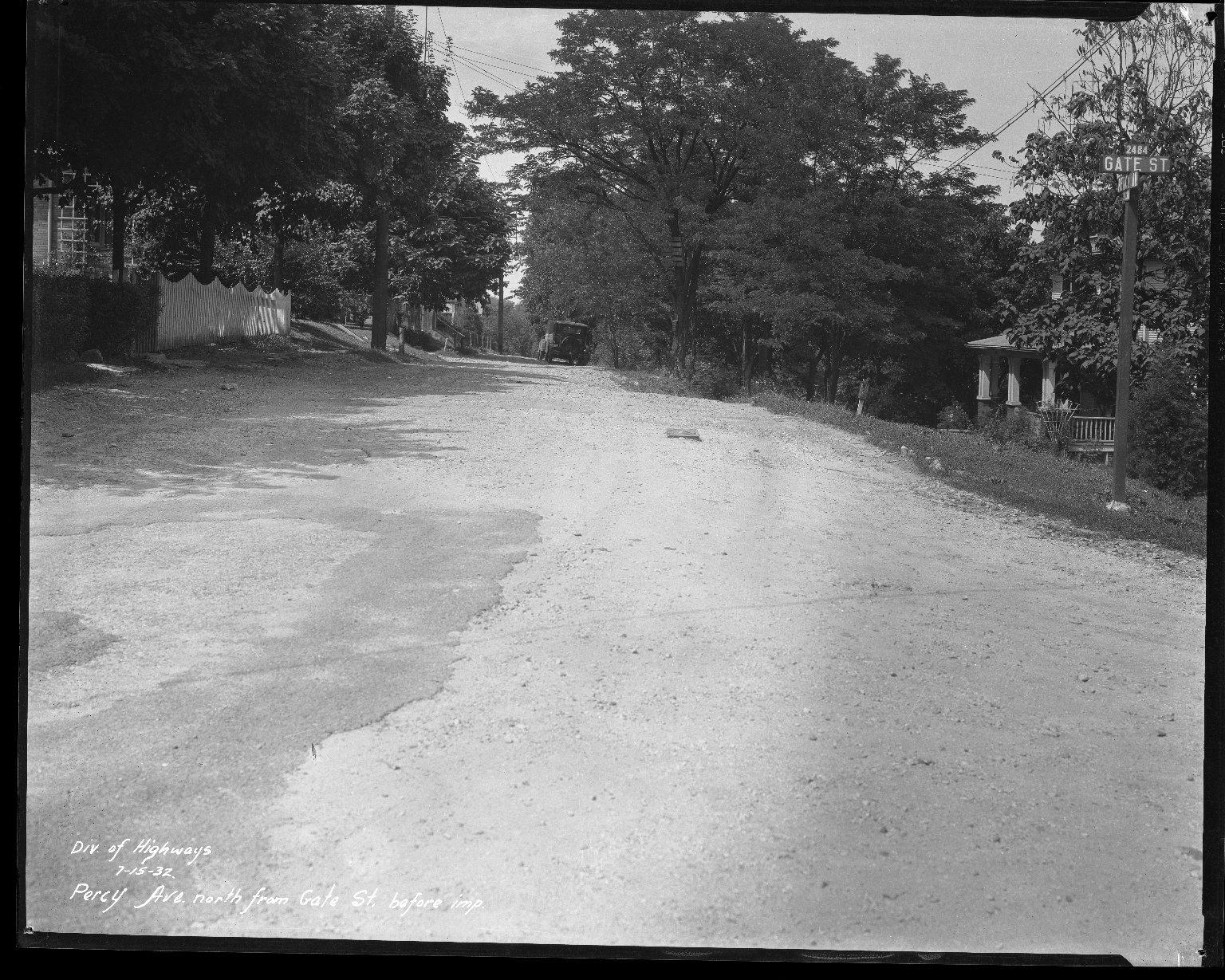 Street Improvement Photographs -- Box 43, Folder 16 (Percy Avenue) -- negative, 1932-07-15