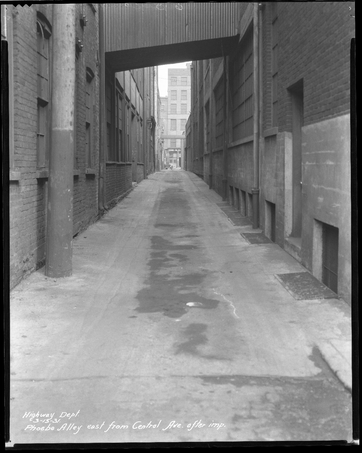 Street Improvement Photographs -- Box 43, Folder 18 (Phoebe Alley) -- negative, 1931-03-13