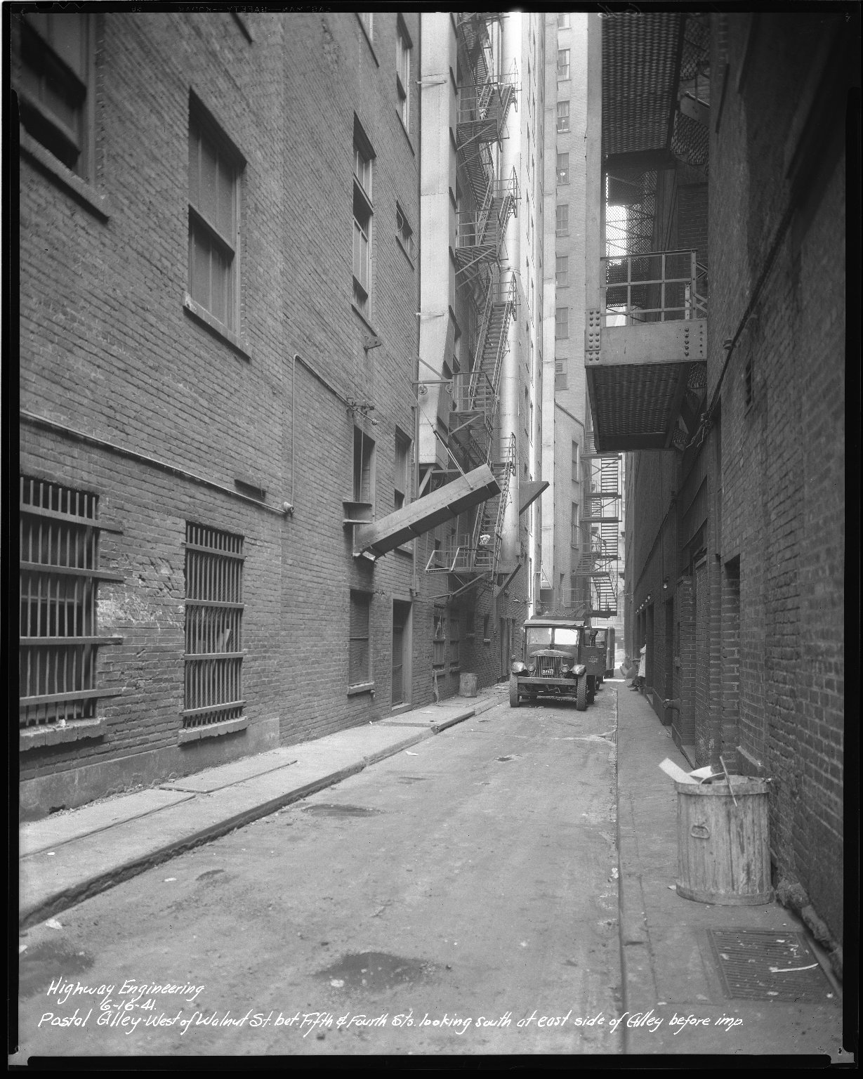 Street Improvement Photographs -- Box 43, Folder 24 (Postal Alley) -- negative, 1941-06-16