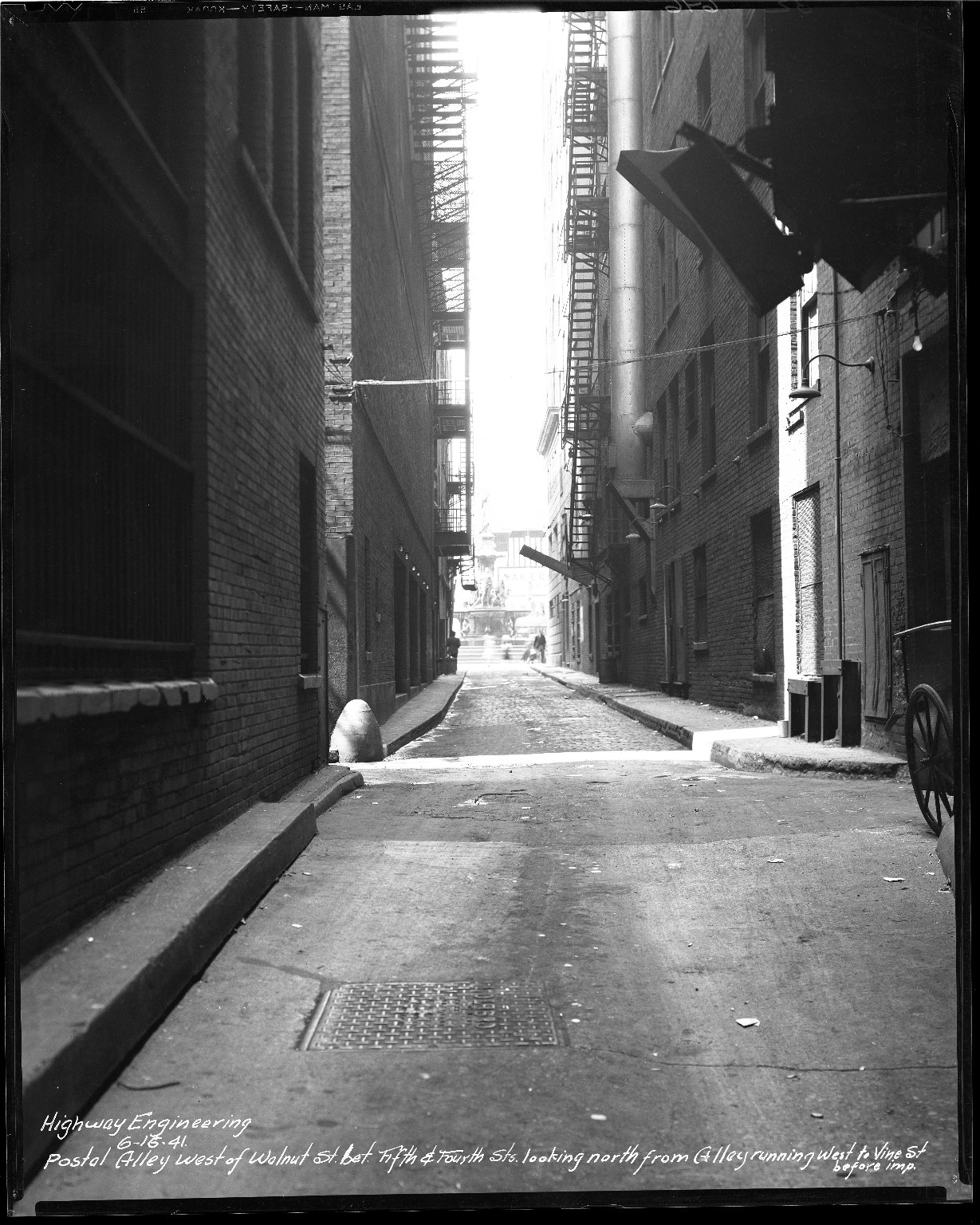 Street Improvement Photographs -- Box 43, Folder 24 (Postal Alley) -- negative, 1941-06-16