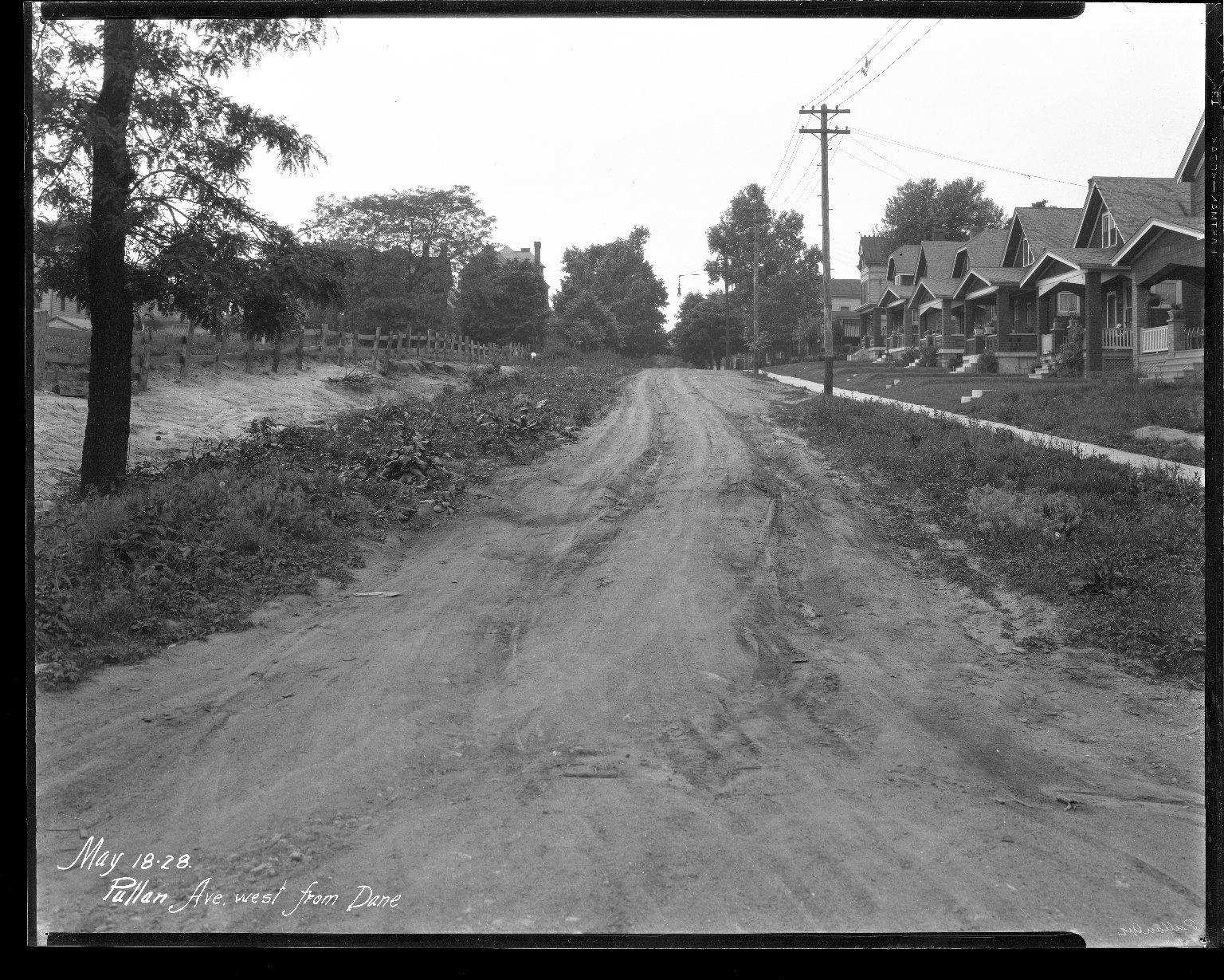 Street Improvement Photographs -- Box 43, Folder 28 (Pullan Avenue) -- negative, 1928-05-18