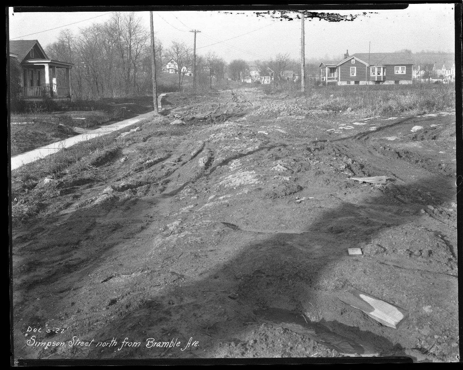 Street Improvement Photographs -- Box 44, Folder 63 (Simpson Avenue) -- negative, 1927-12-05