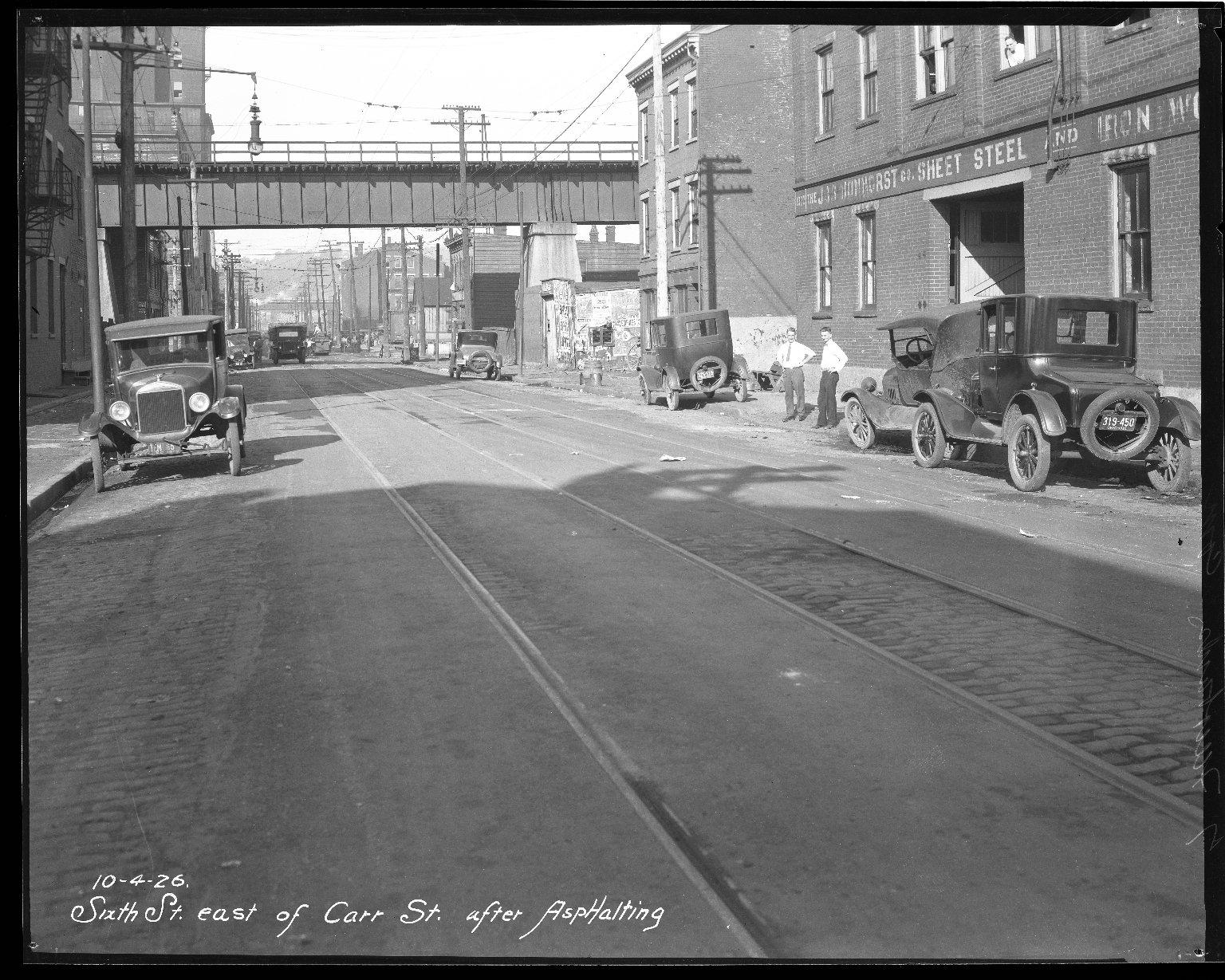 Street Improvement Photographs -- Box 45, Folder 06 (Sixth Street) -- negative, 1926-10-04