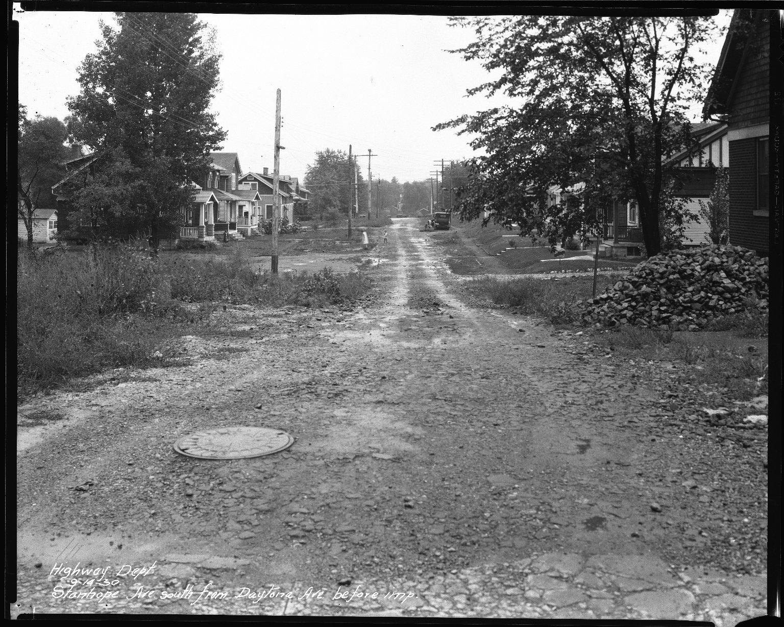 Street Improvement Photographs -- Box 45, Folder 22 (Stanhope Avenue) -- negative, 1930-09-14