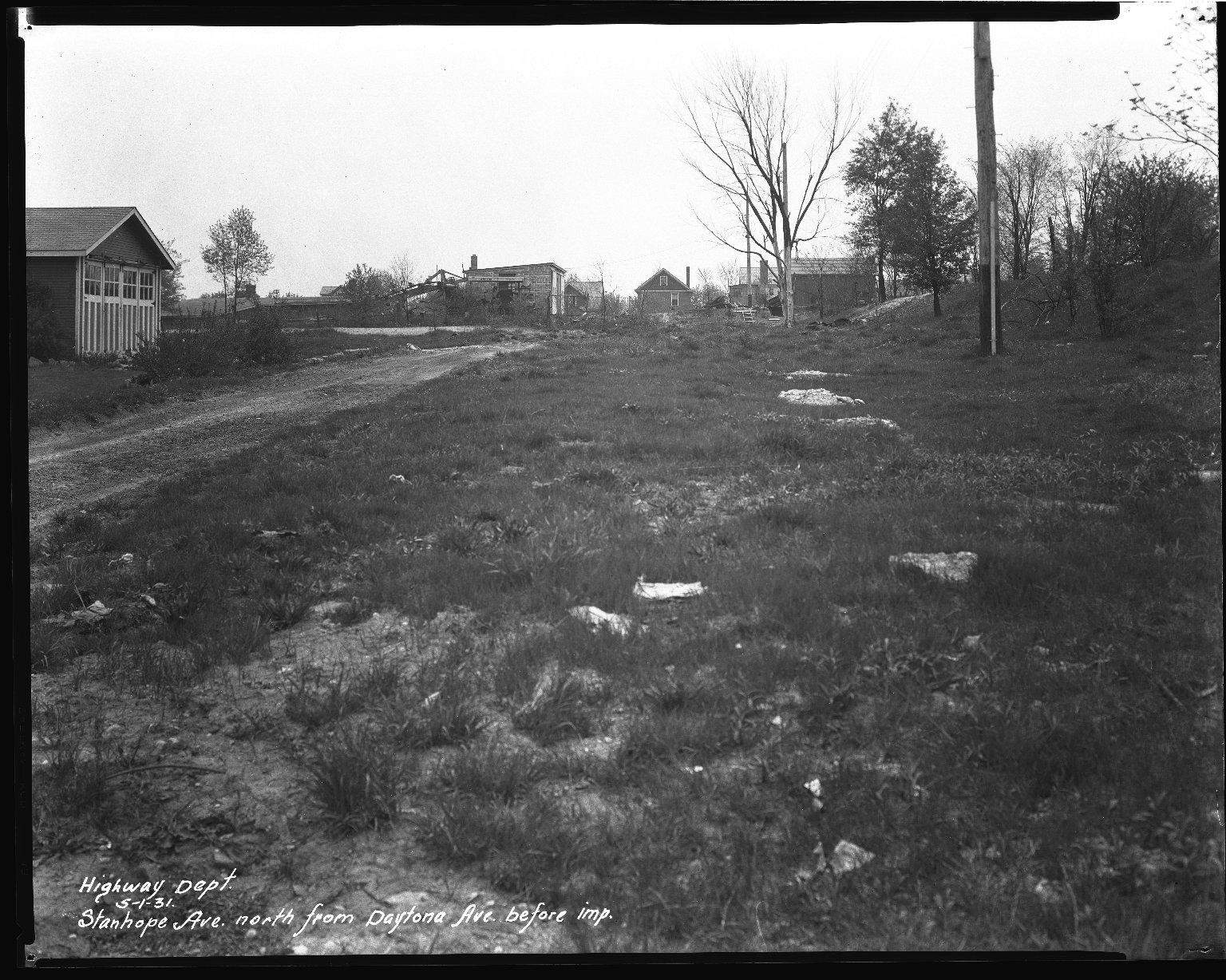 Street Improvement Photographs -- Box 45, Folder 22 (Stanhope Avenue) -- negative, 1931-05-01