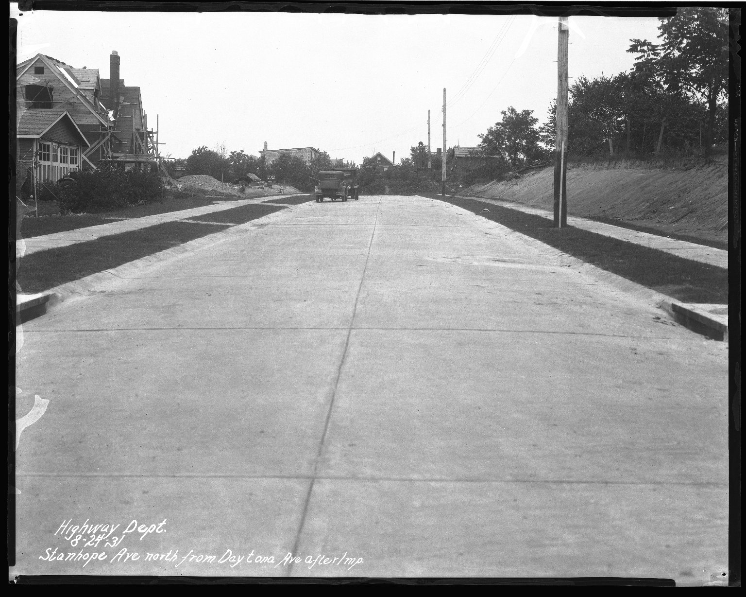 Street Improvement Photographs -- Box 45, Folder 22 (Stanhope Avenue) -- negative, 1931-08-24