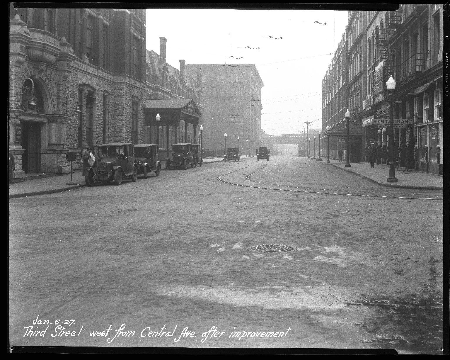 Street Improvement Photographs -- Box 46, Folder 03 (Third Street) -- negative, 1927-01-06