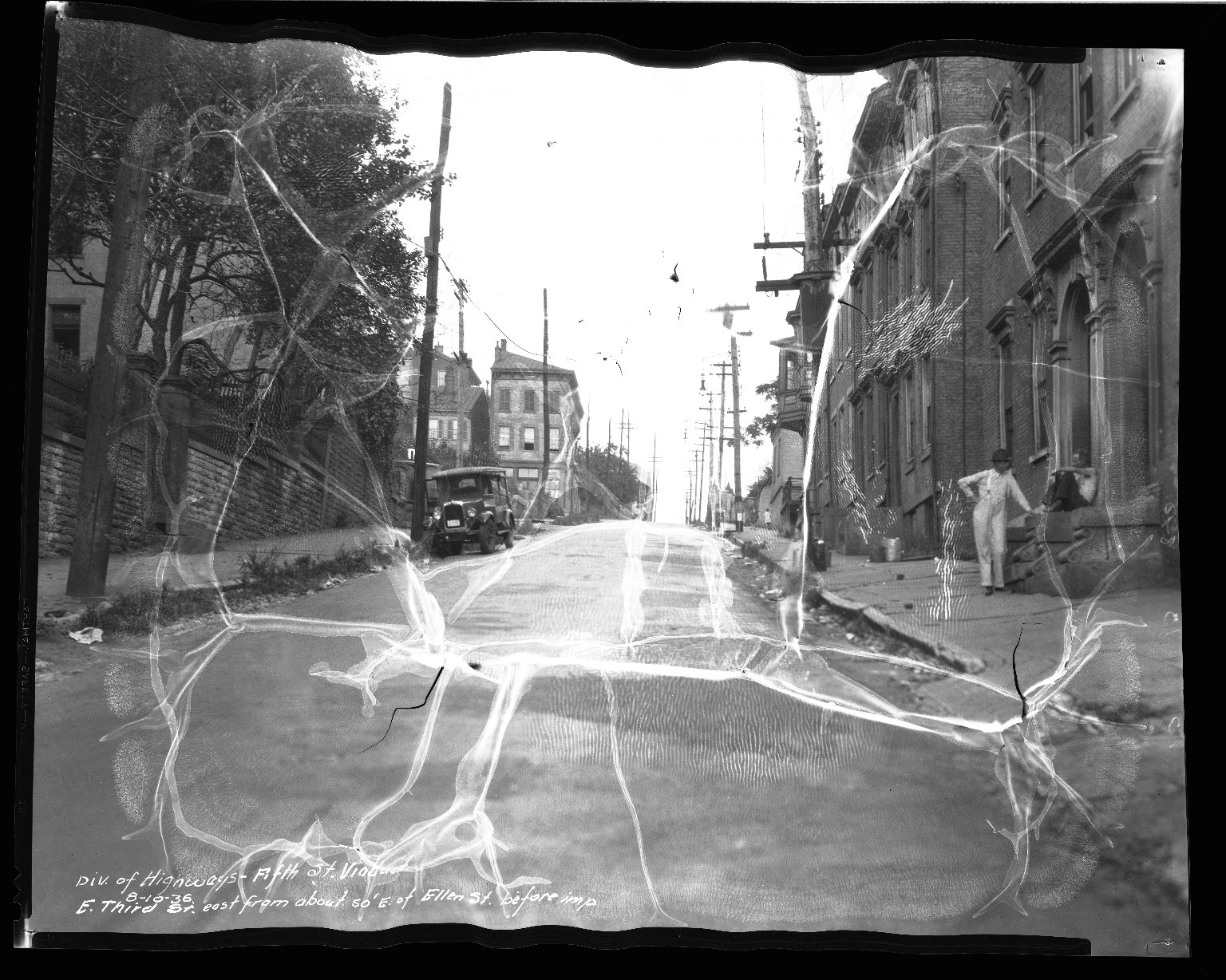 Street Improvement Photographs -- Box 46, Folder 04 (Third Street) -- negative, 1936-08-10