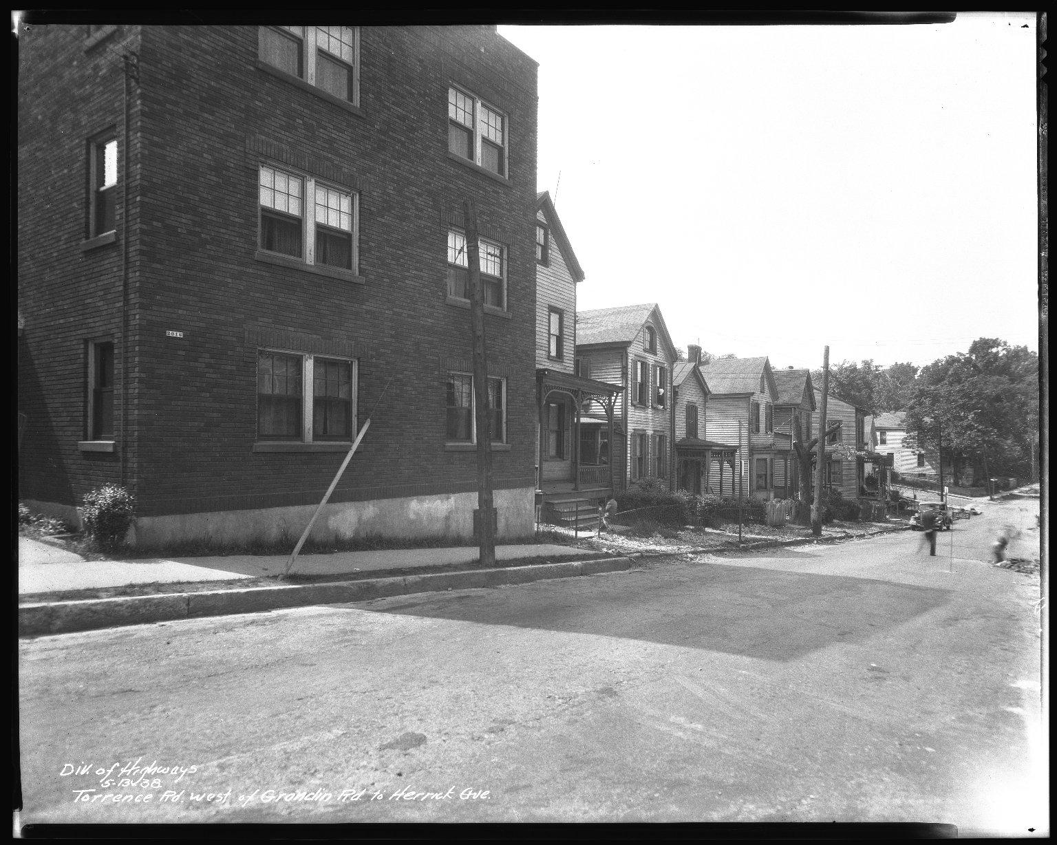 Street Improvement Photographs -- Box 46, Folder 08 (Torrence Parkway) -- negative, 1938-05-13