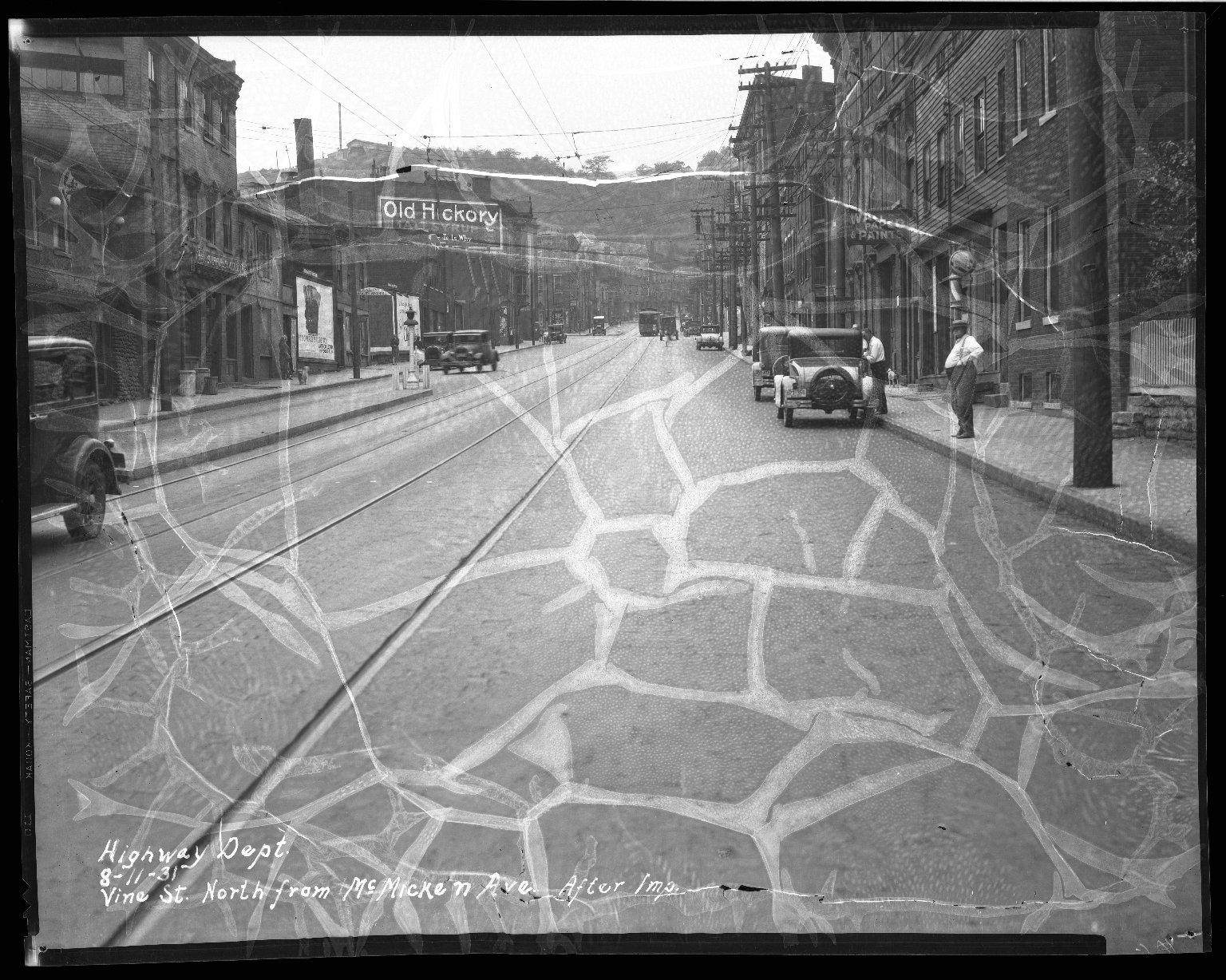 Street Improvement Photographs -- Box 46, Folder 36 (Vine Street) -- negative, 1931-08-11