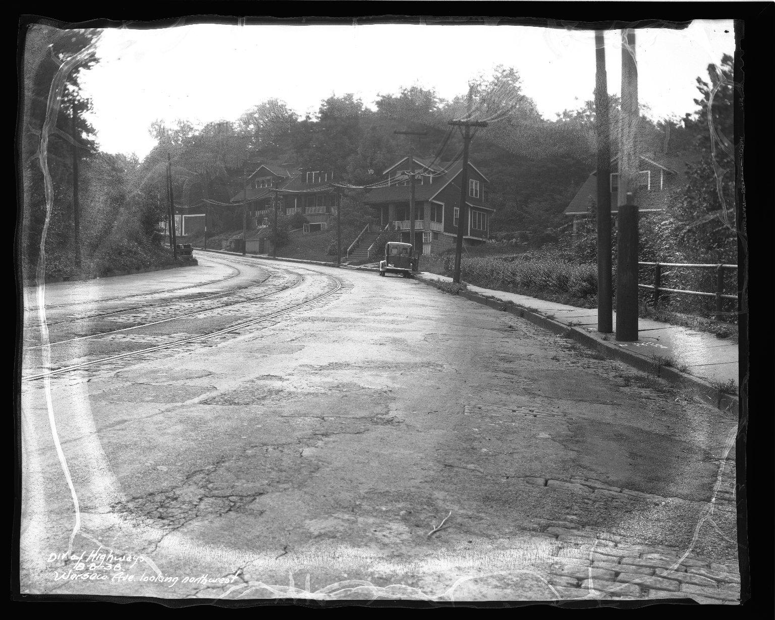 Street Improvement Photographs -- Box 46, Folder 53 (Warsaw Avenue) -- negative, 1938-08-08