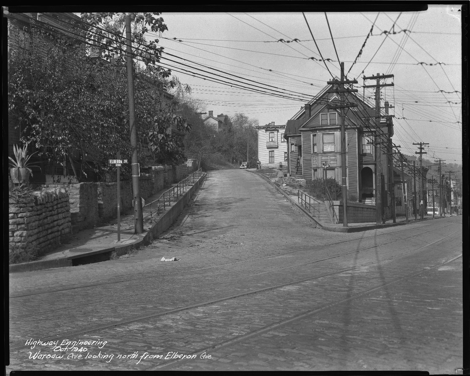 Street Improvement Photographs -- Box 46, Folder 56 (Warsaw Avenue) -- negative, 1940-10