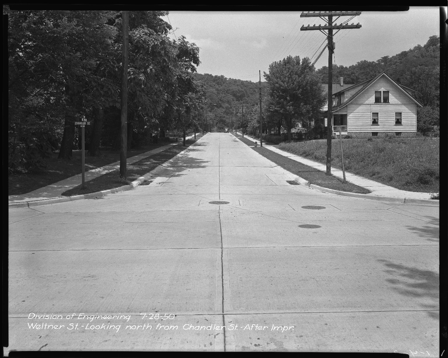 Street Improvement Photographs -- Box 47, Folder 06 (Weltner Street) -- negative, 1950-07-28