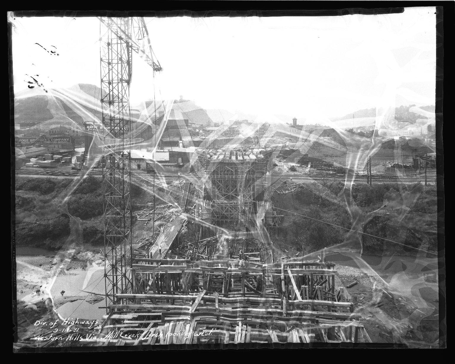Street Improvement Photographs -- Box 47, Folder 09 (Western Hills Viaduct) -- negative, 1931-09-18